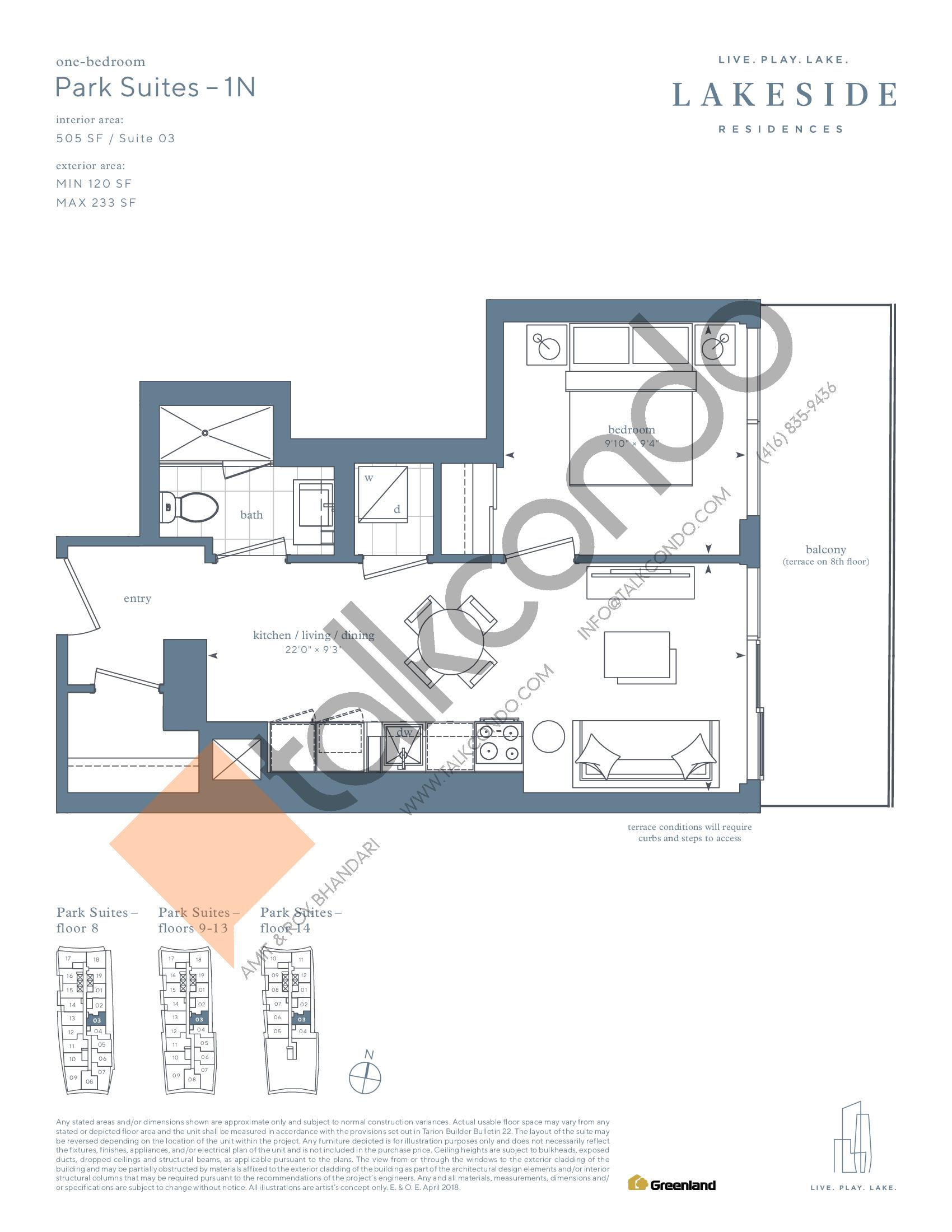 Park Suites - 1N Floor Plan at Lakeside Residences - 505 sq.ft