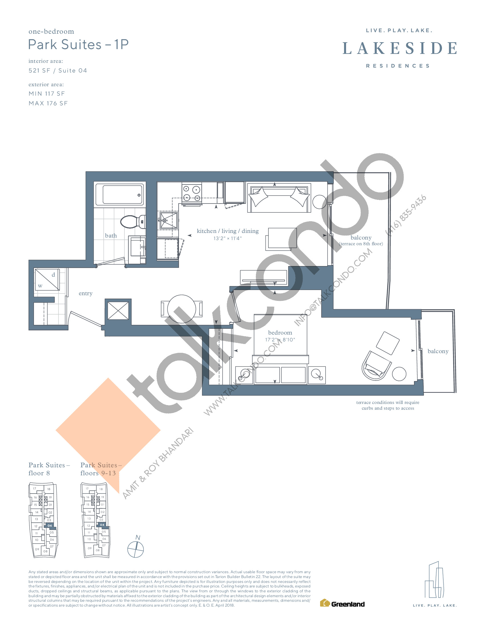 Park Suites - 1P Floor Plan at Lakeside Residences - 521 sq.ft