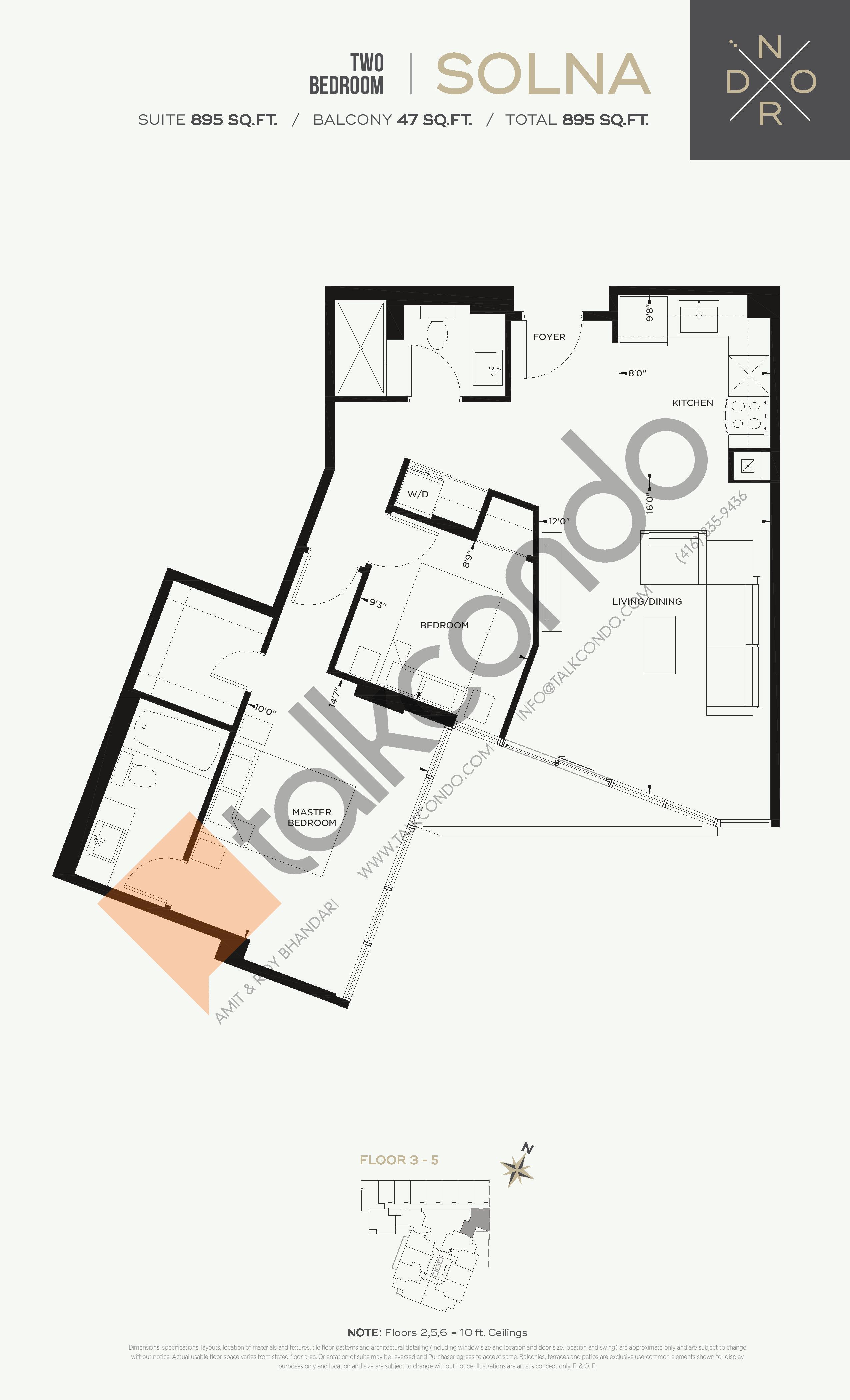 Solna Floor Plan at Nord West at Expo City Condos - 895 sq.ft