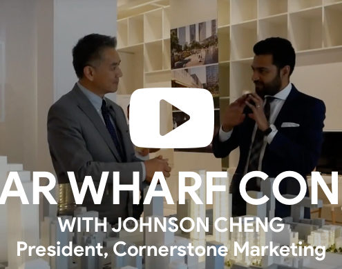 Roy Bhandari discussing Sugar Wharf Condos with Johnson Cheng