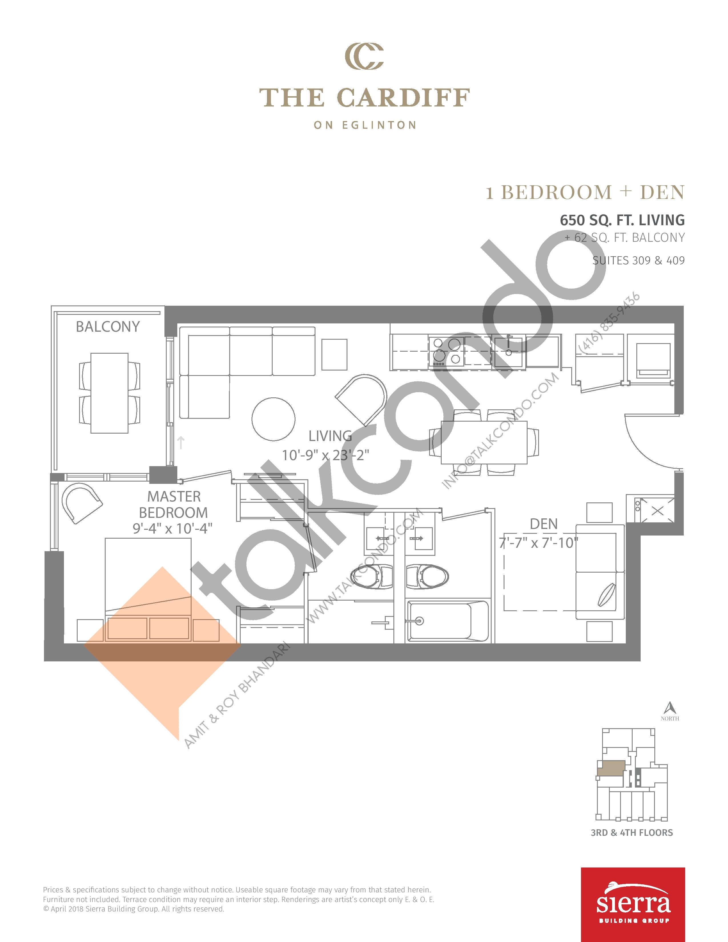 Suites 309 & 409 Floor Plan at The Cardiff Condos on Eglinton - 650 sq.ft