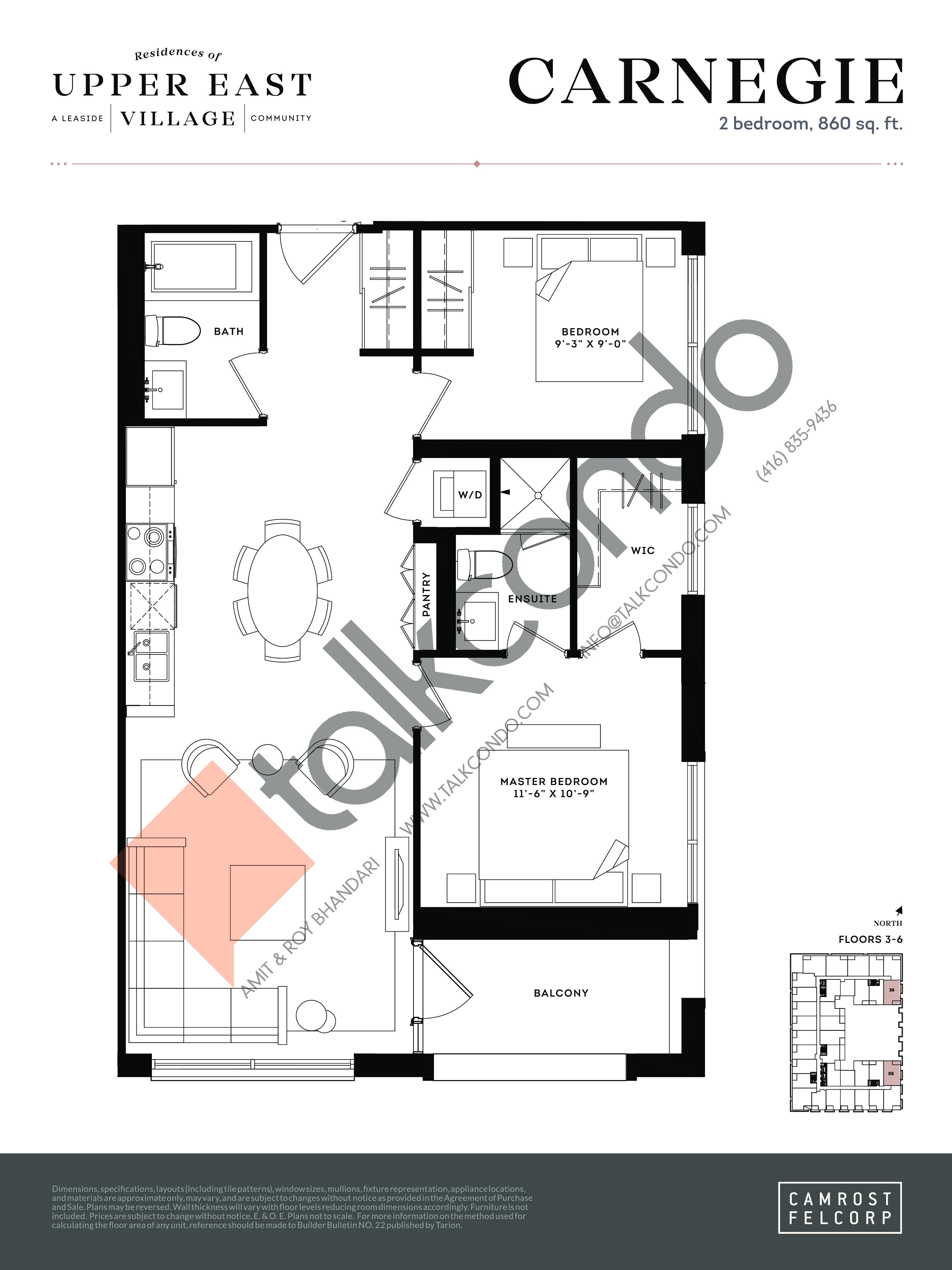 Carnegie Floor Plan at Upper East Village Condos - 860 sq.ft