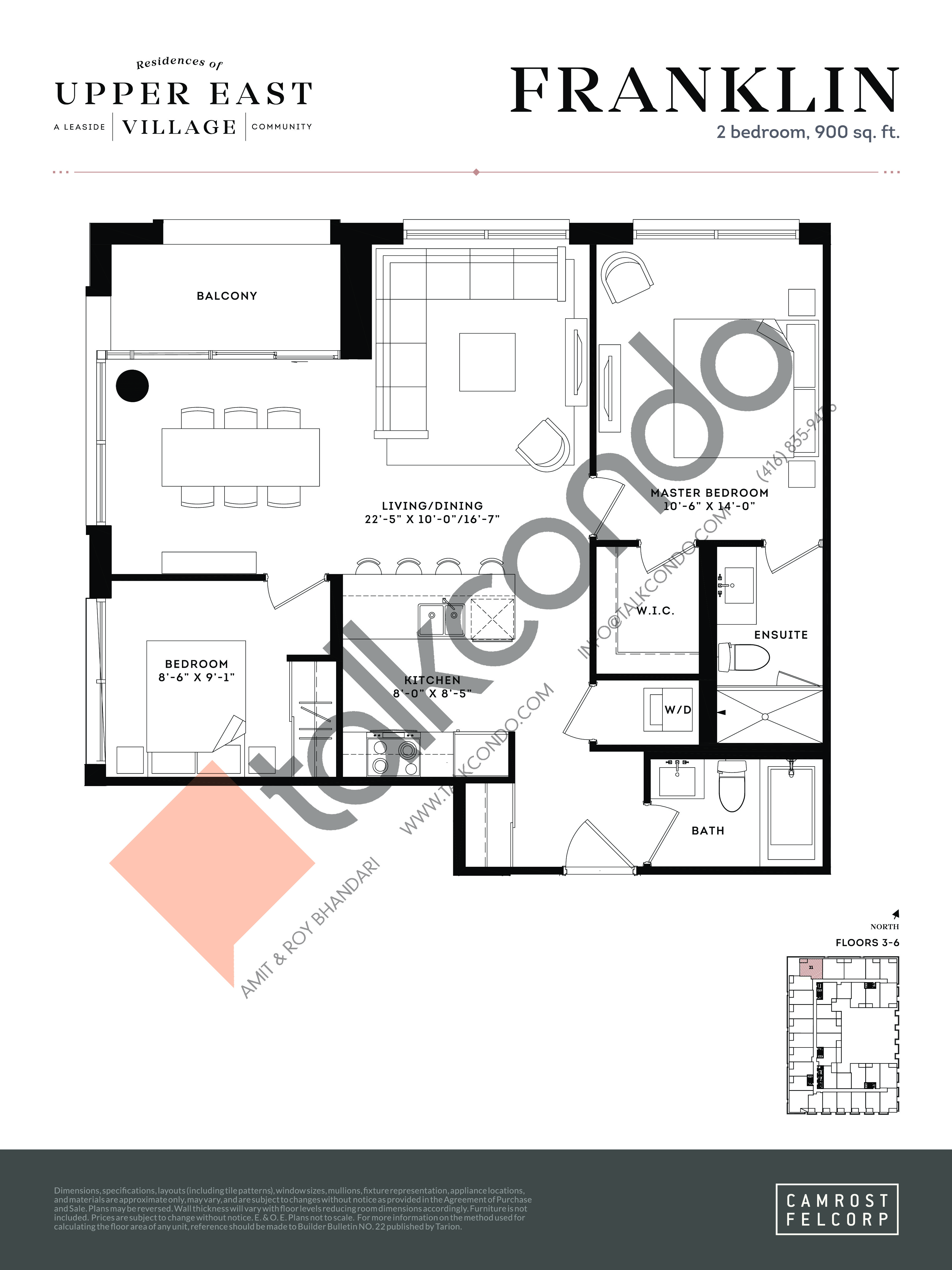 Franklin (Tower Suites) Floor Plan at Upper East Village Condos - 900 sq.ft