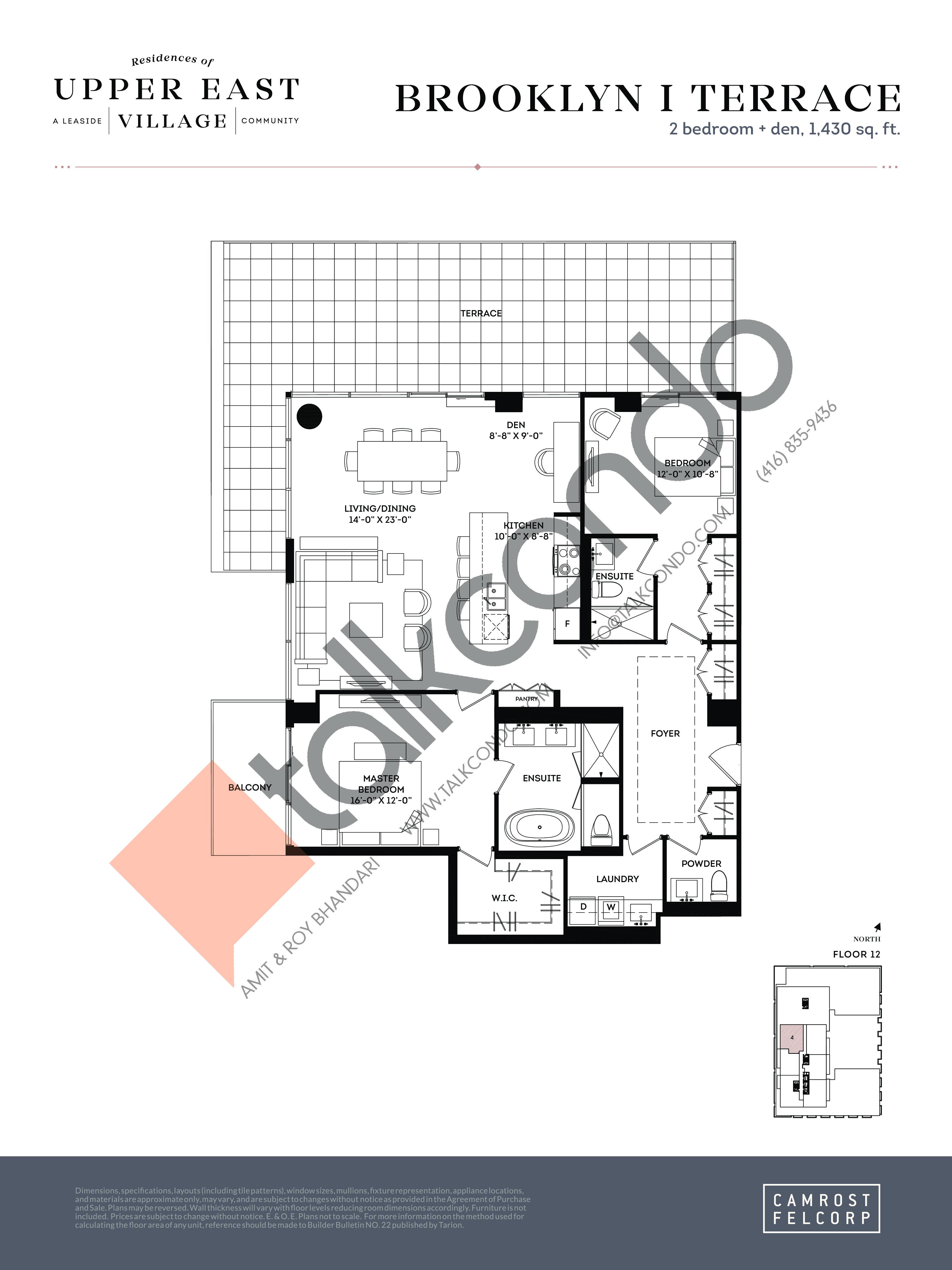 Brooklyn I Terrace Floor Plan at Upper East Village Condos - 1430 sq.ft