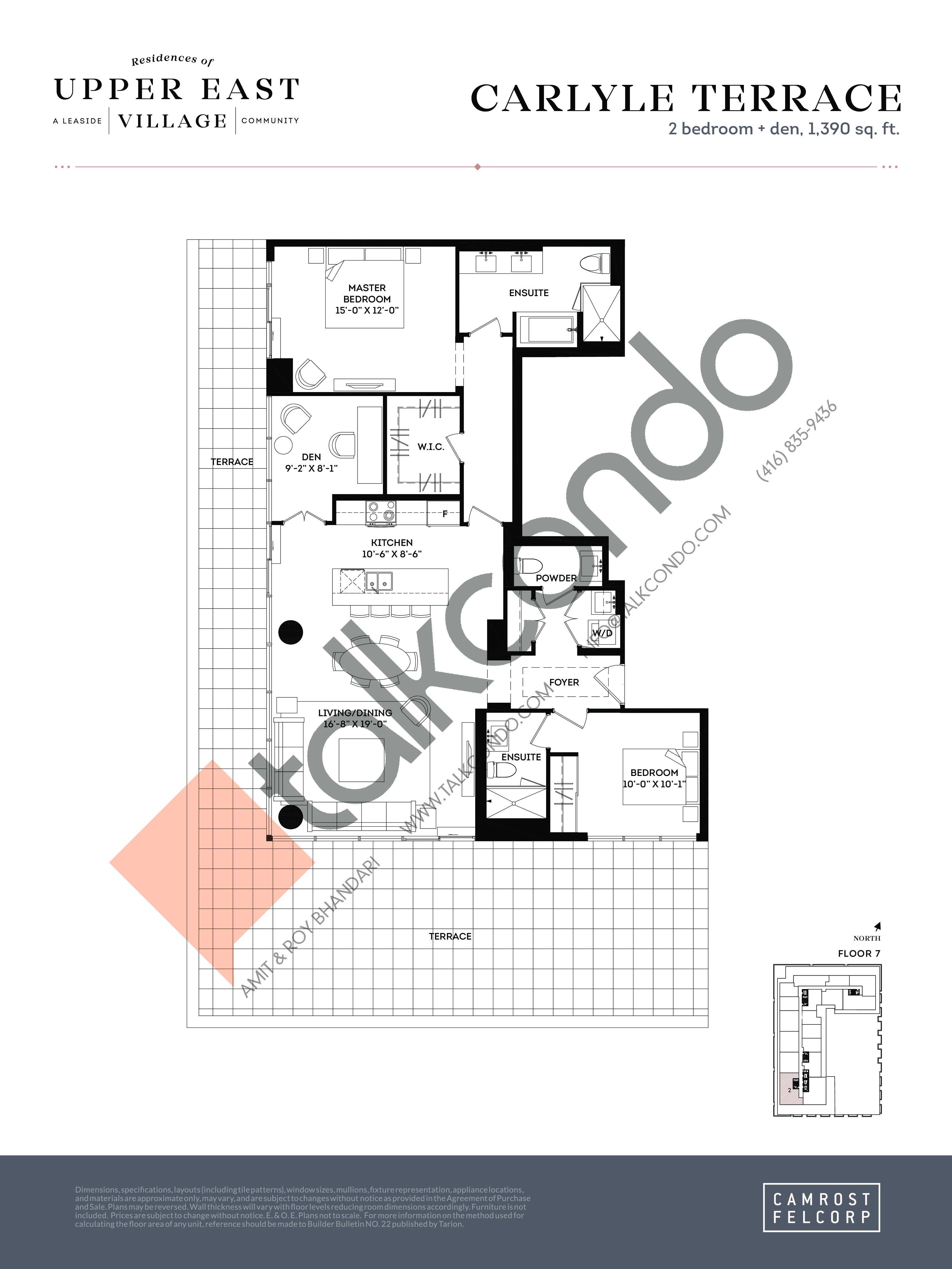 Carlyle Terrace Floor Plan at Upper East Village Condos - 1390 sq.ft