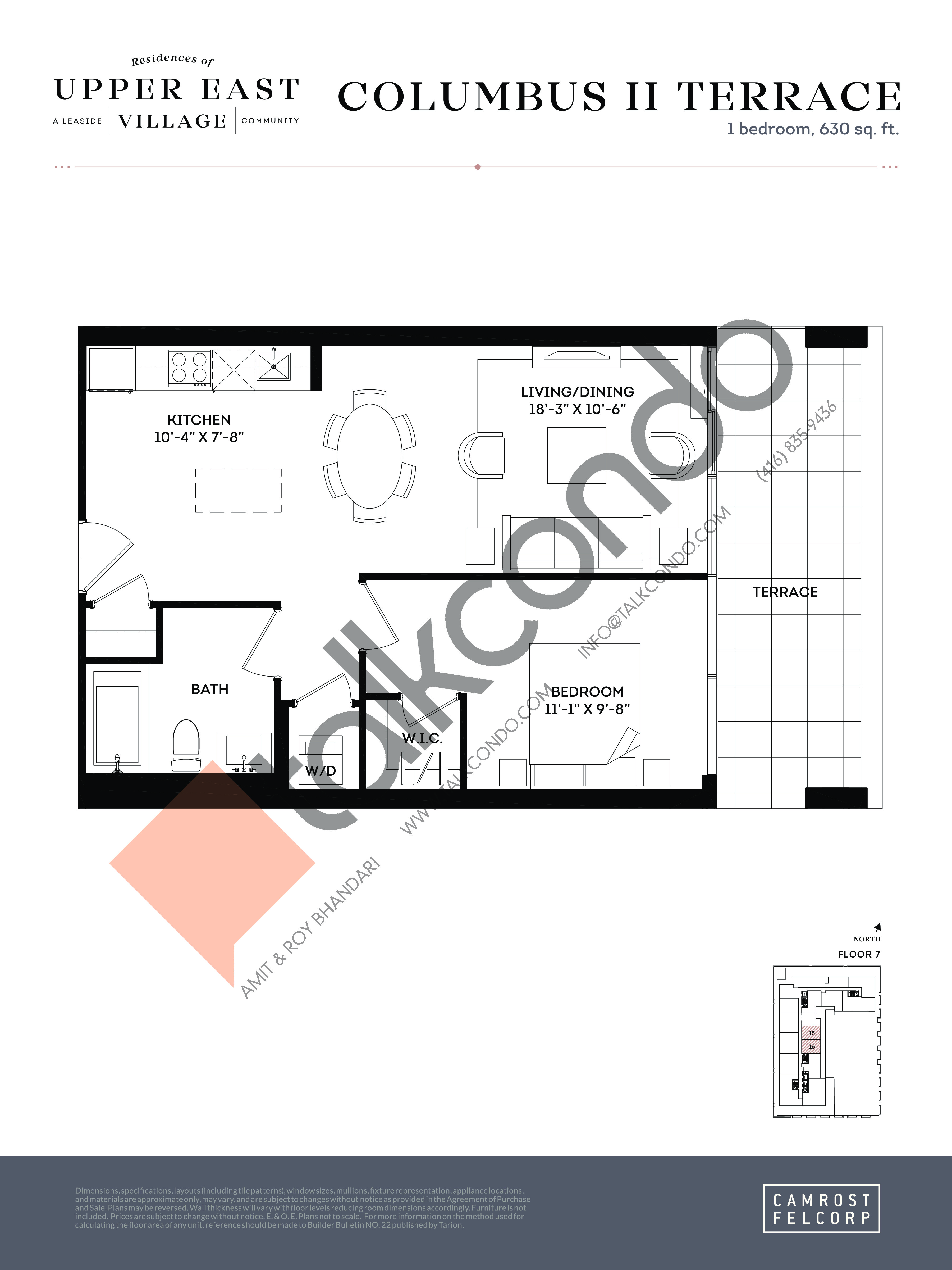 Columbus II Terrace Floor Plan at Upper East Village Condos - 630 sq.ft