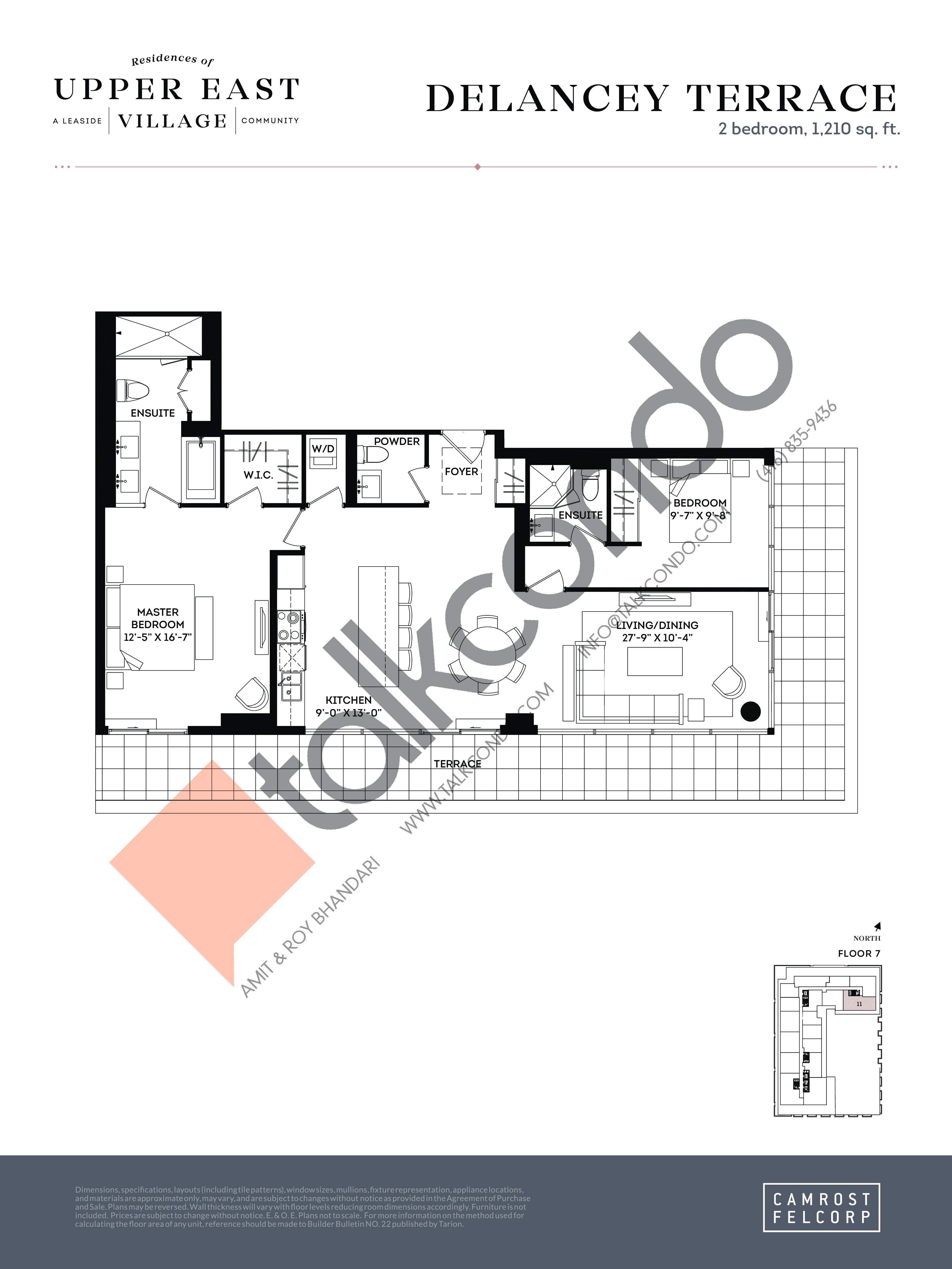 Delancey Terrace (Signature Collection) Floor Plan at Upper East Village Condos - 1210 sq.ft