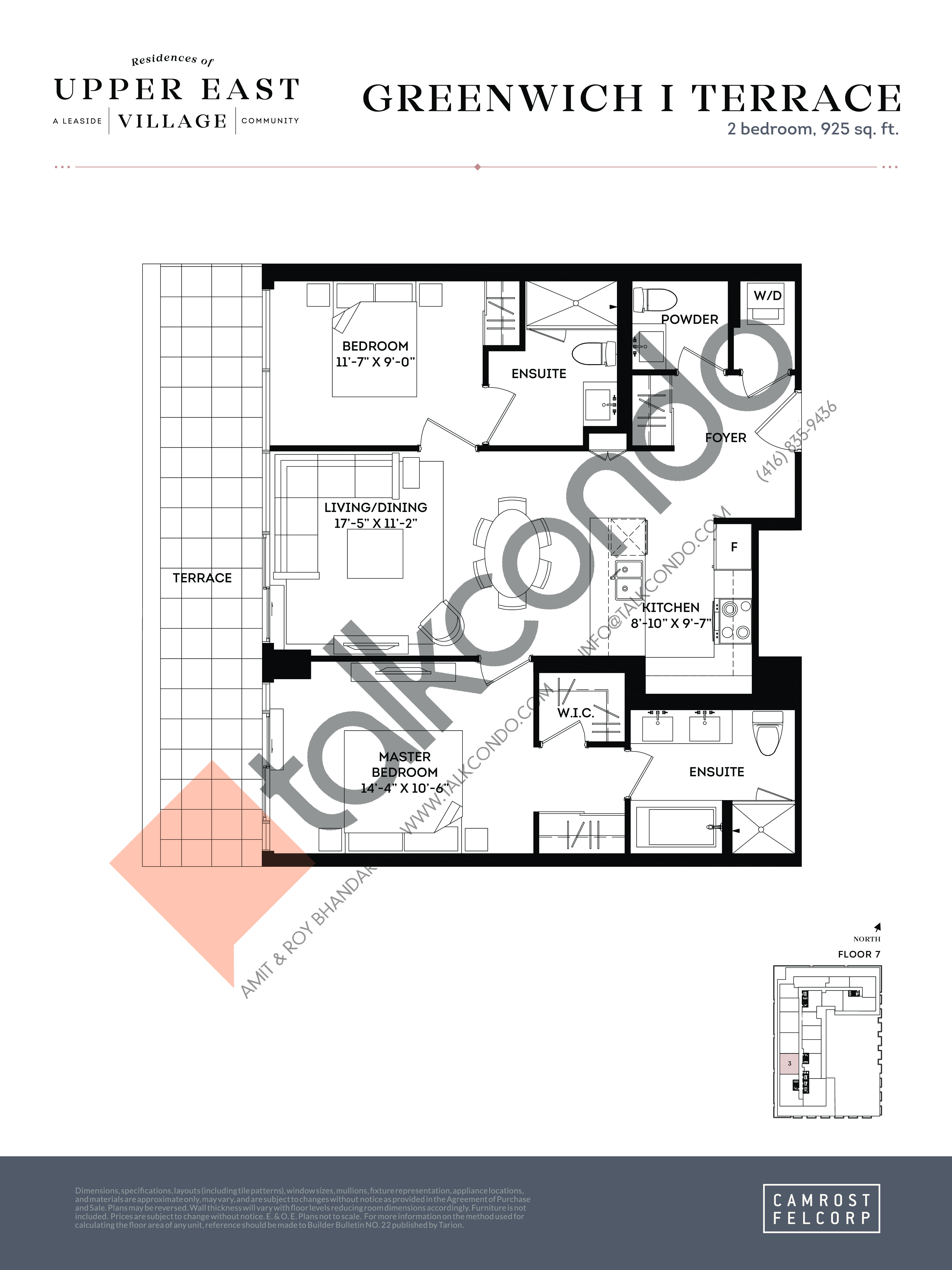 Greenwich I Terrace Floor Plan at Upper East Village Condos - 925 sq.ft