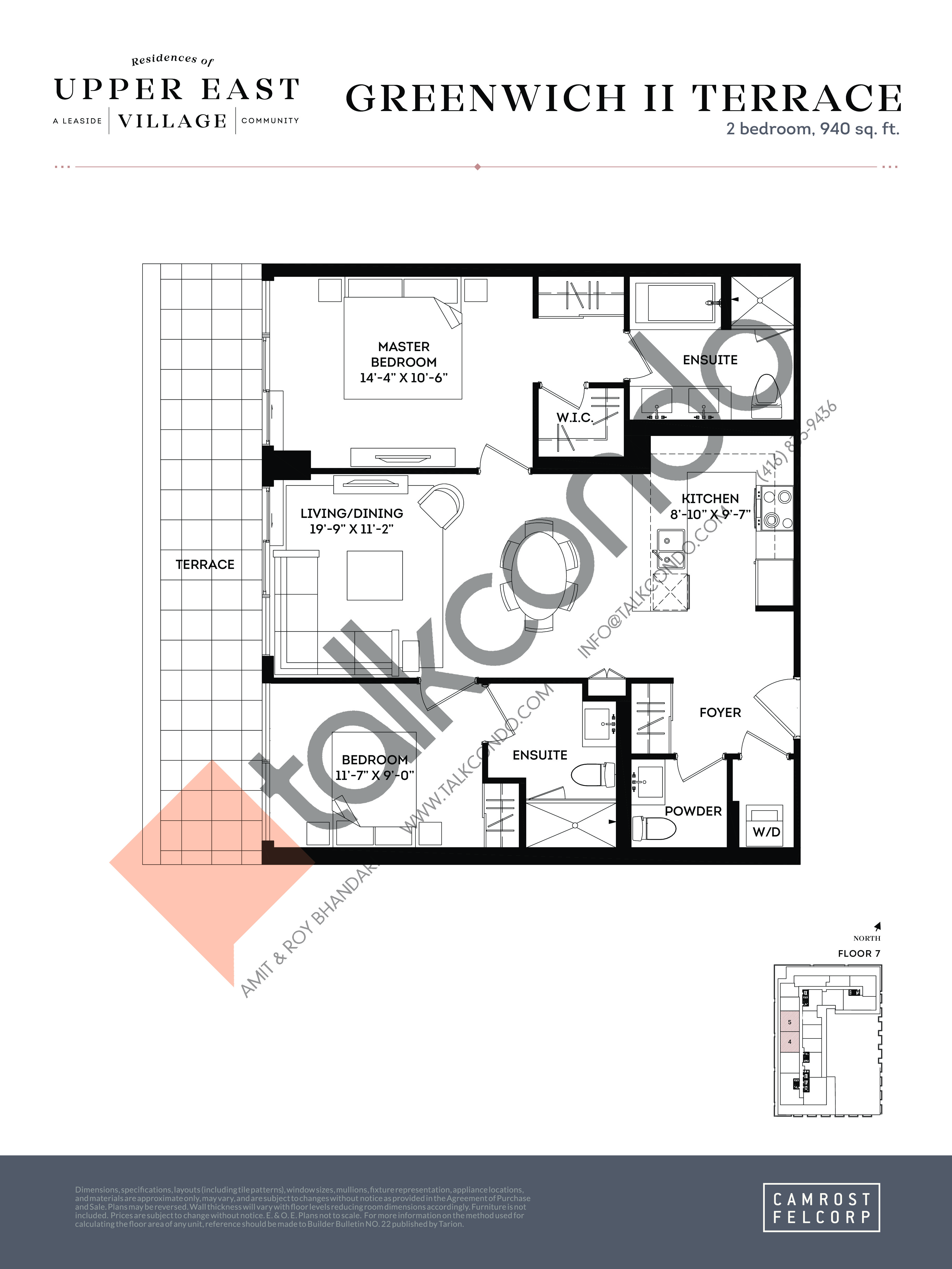 Greenwich II Terrace (Signature Collection) Floor Plan at Upper East Village Condos - 940 sq.ft