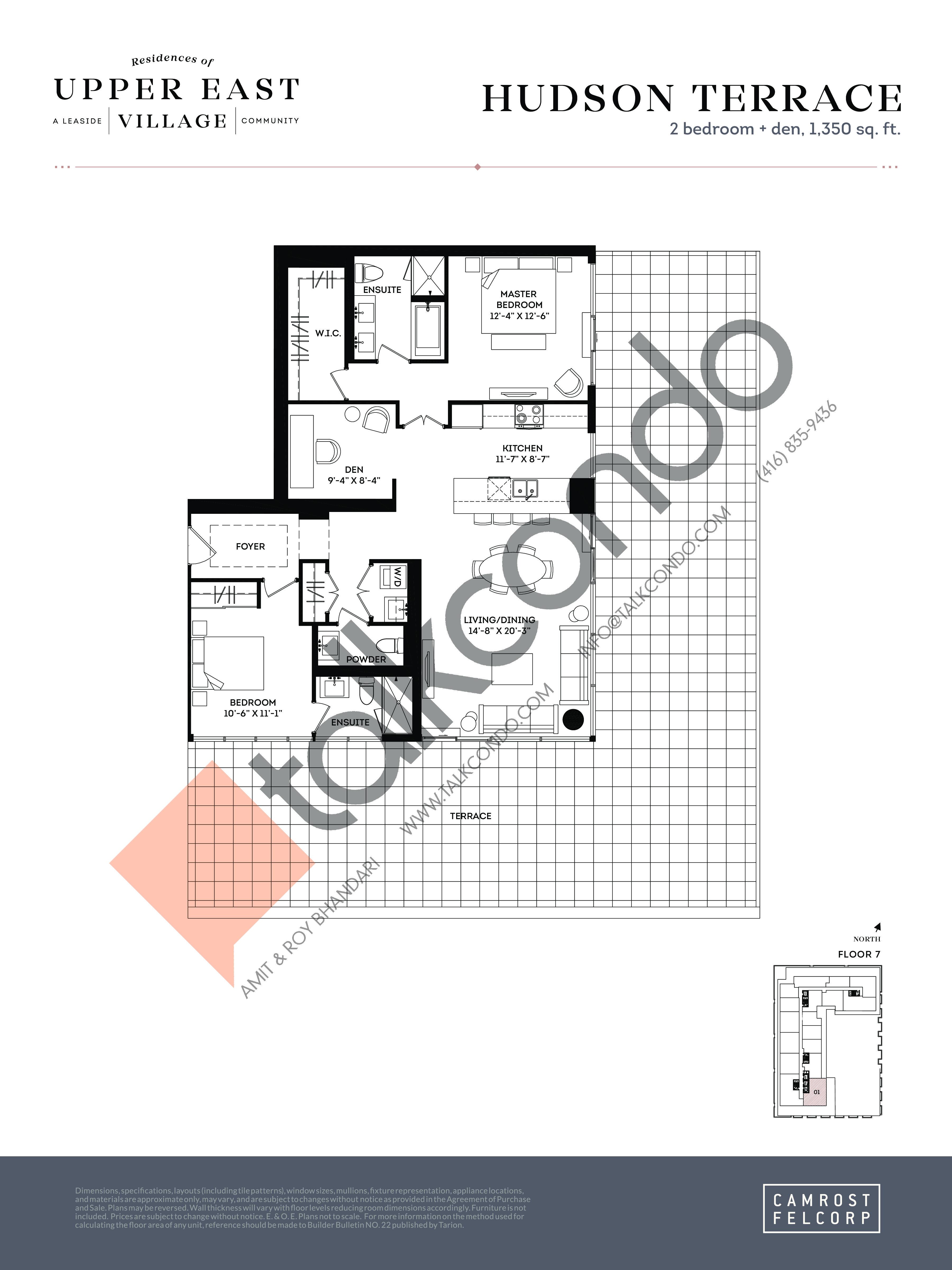 Hudson Terrace Floor Plan at Upper East Village Condos - 1350 sq.ft