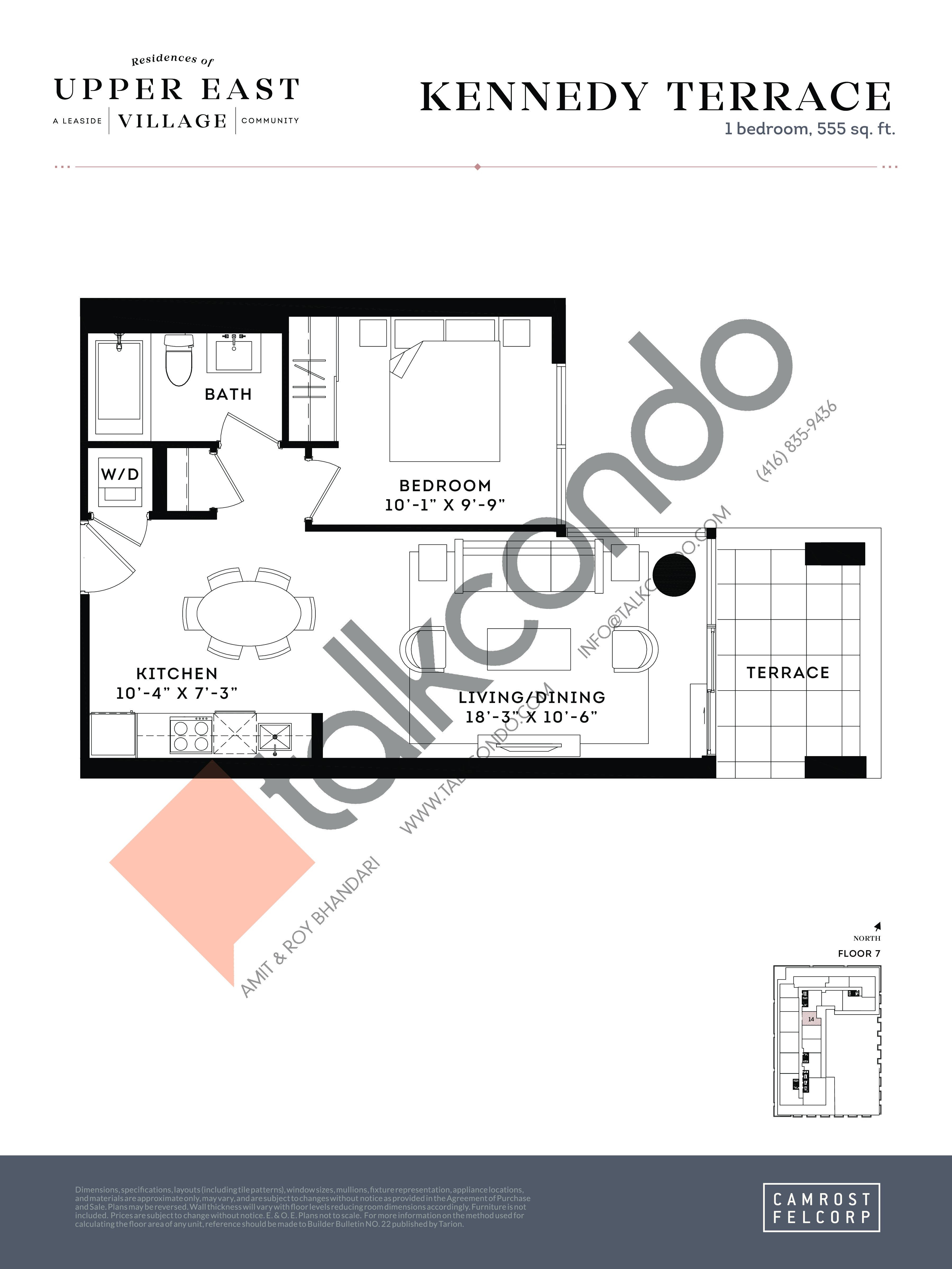 Kennedy Terrace Floor Plan at Upper East Village Condos - 555 sq.ft