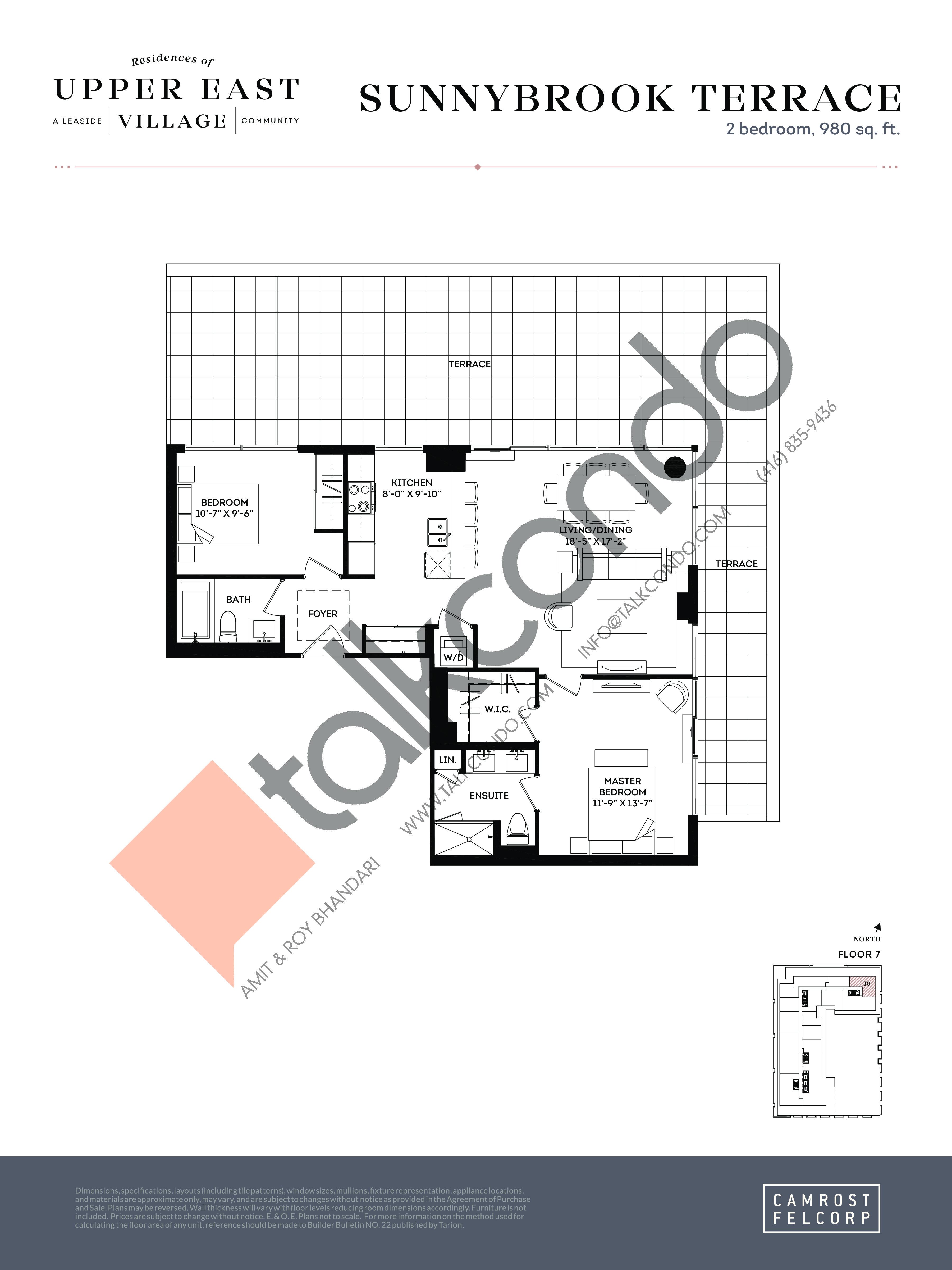 Sunnybrook Terrace Floor Plan at Upper East Village Condos - 980 sq.ft