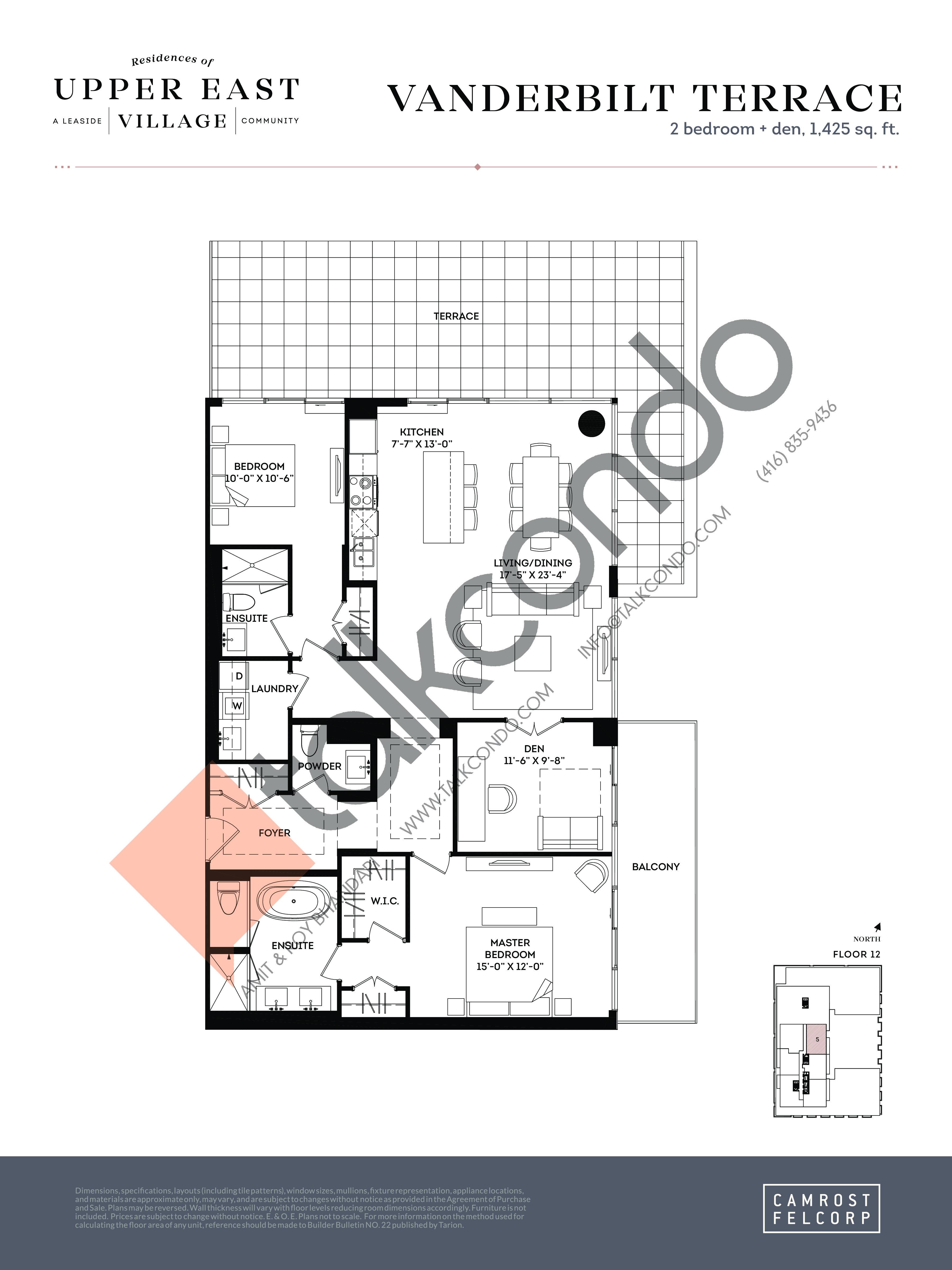 Vanderbilt Terrace Floor Plan at Upper East Village Condos - 1425 sq.ft
