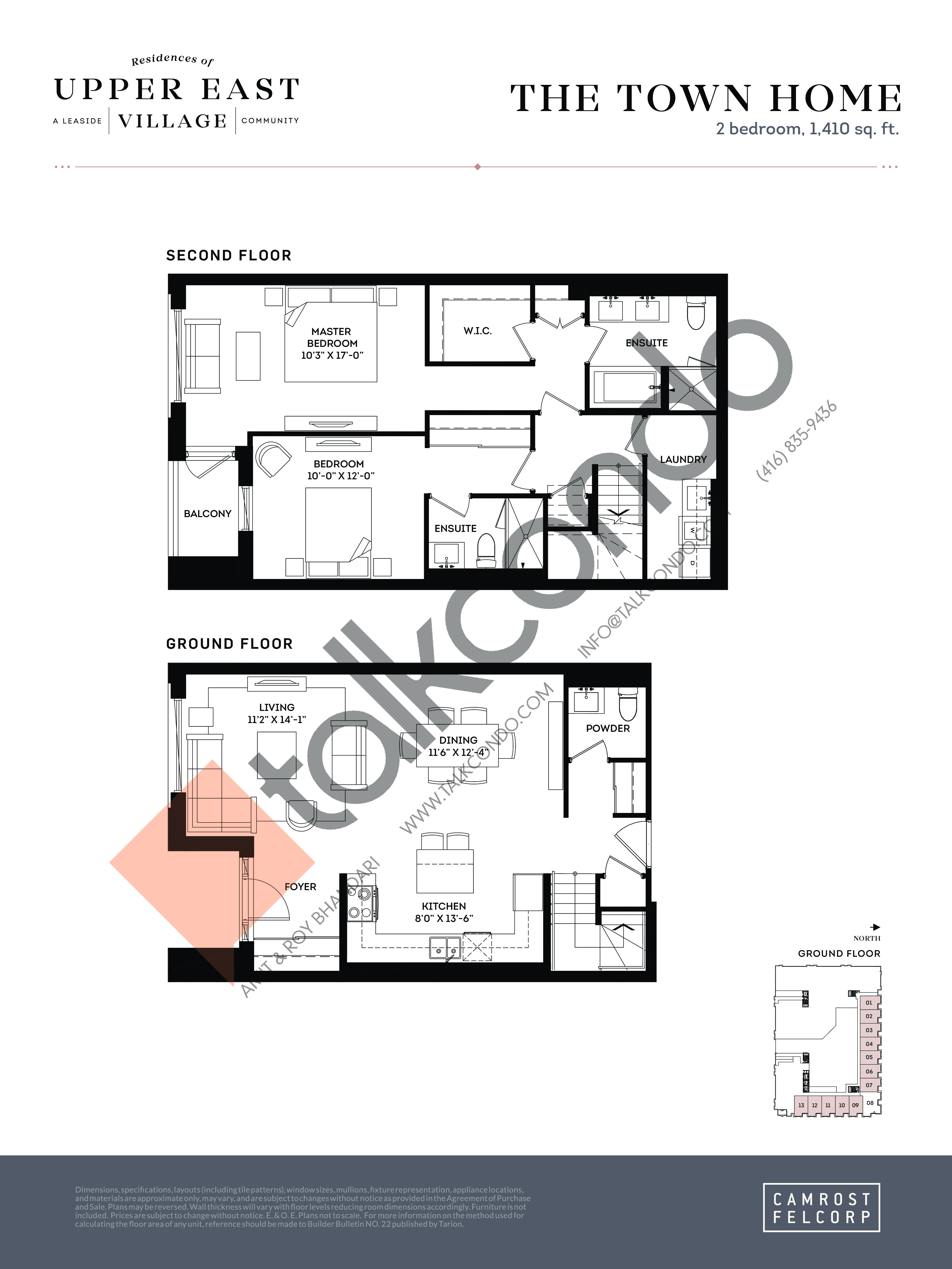 The Town Home Floor Plan at Upper East Village Condos - 1410 sq.ft