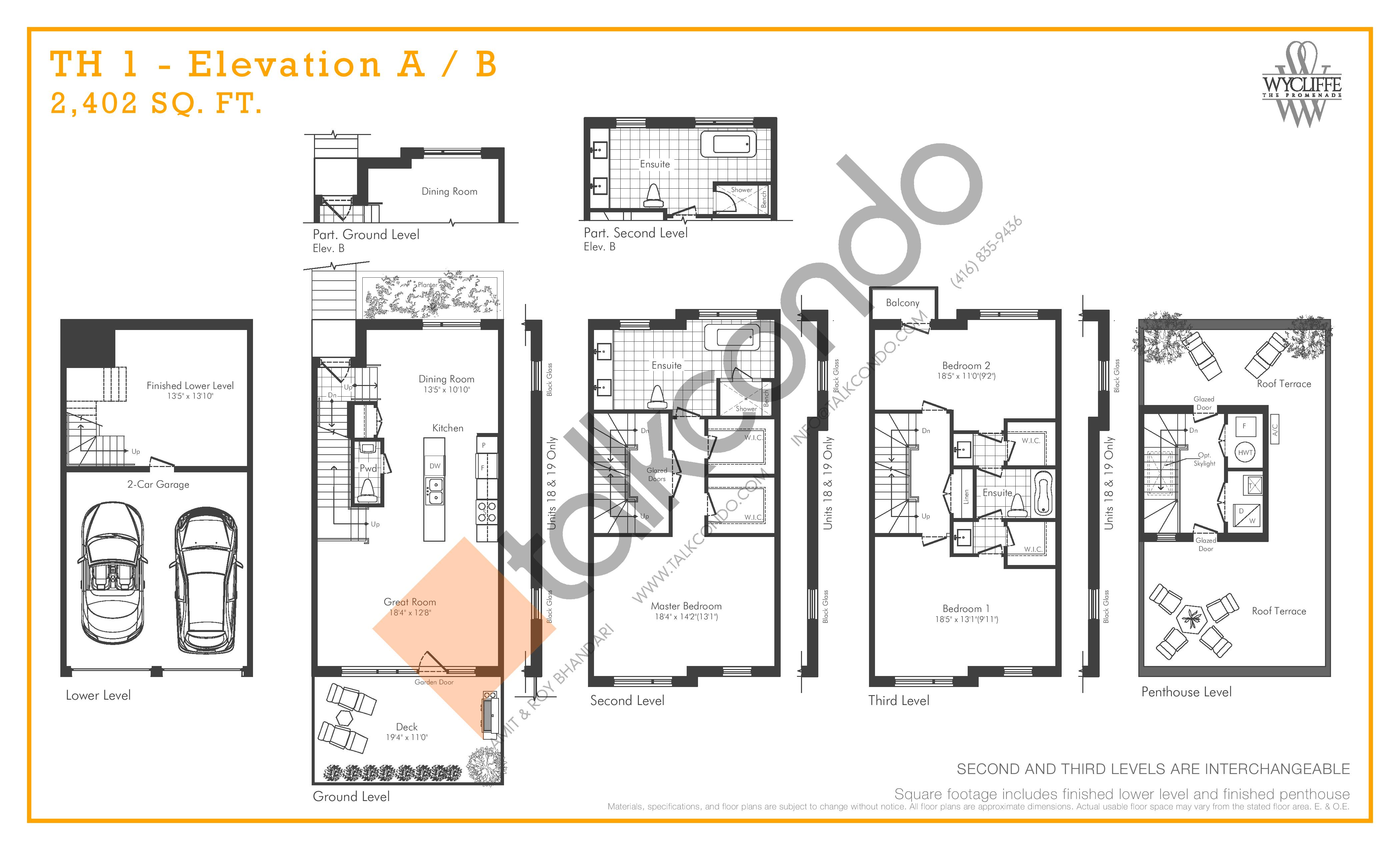 TH 1 - Elevation A/B Floor Plan at Wycliffe at the Promenade - 2402 sq.ft