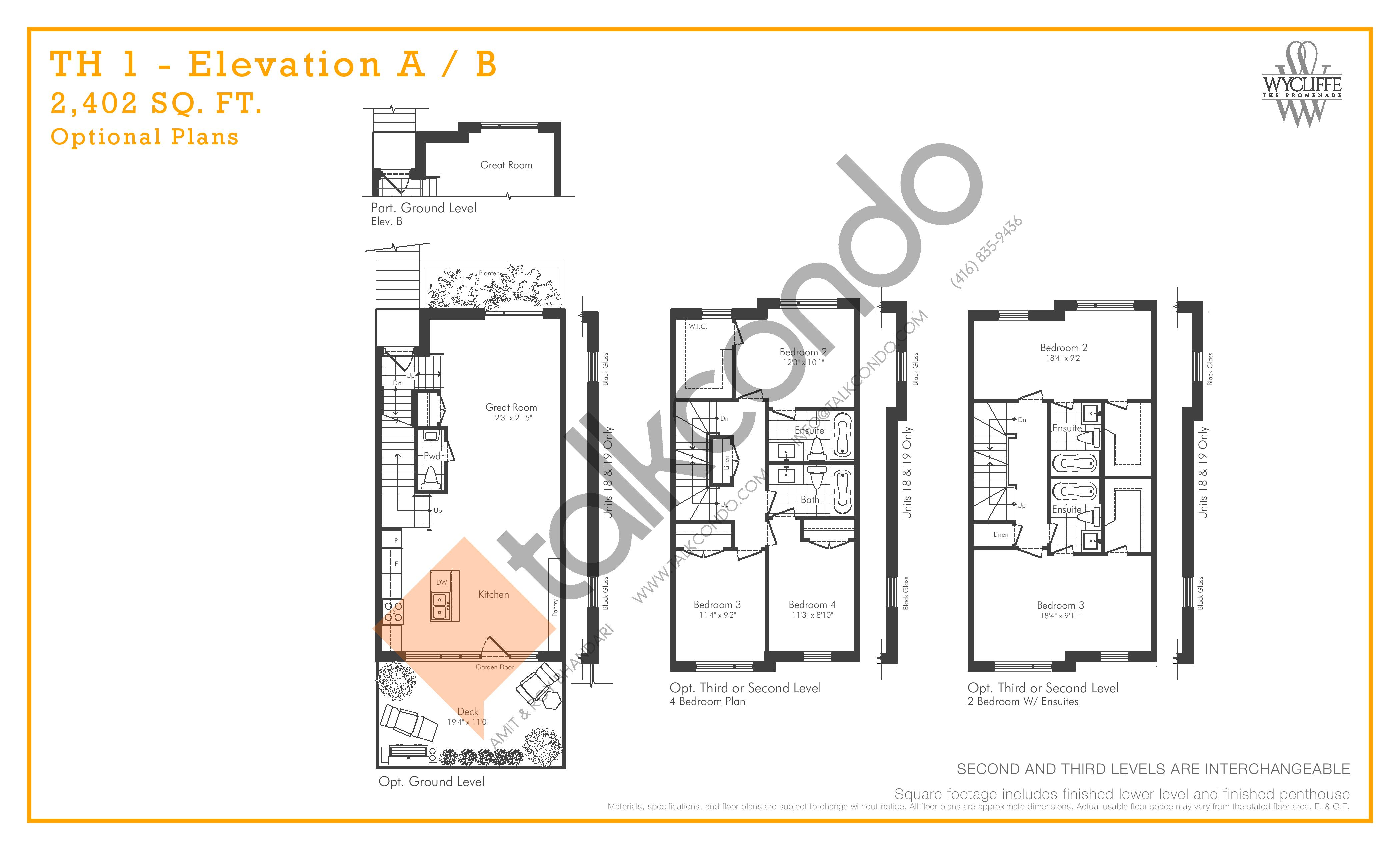 TH 1 - Elevation A/B Optional Plans Floor Plan at Wycliffe at the Promenade - 2402 sq.ft