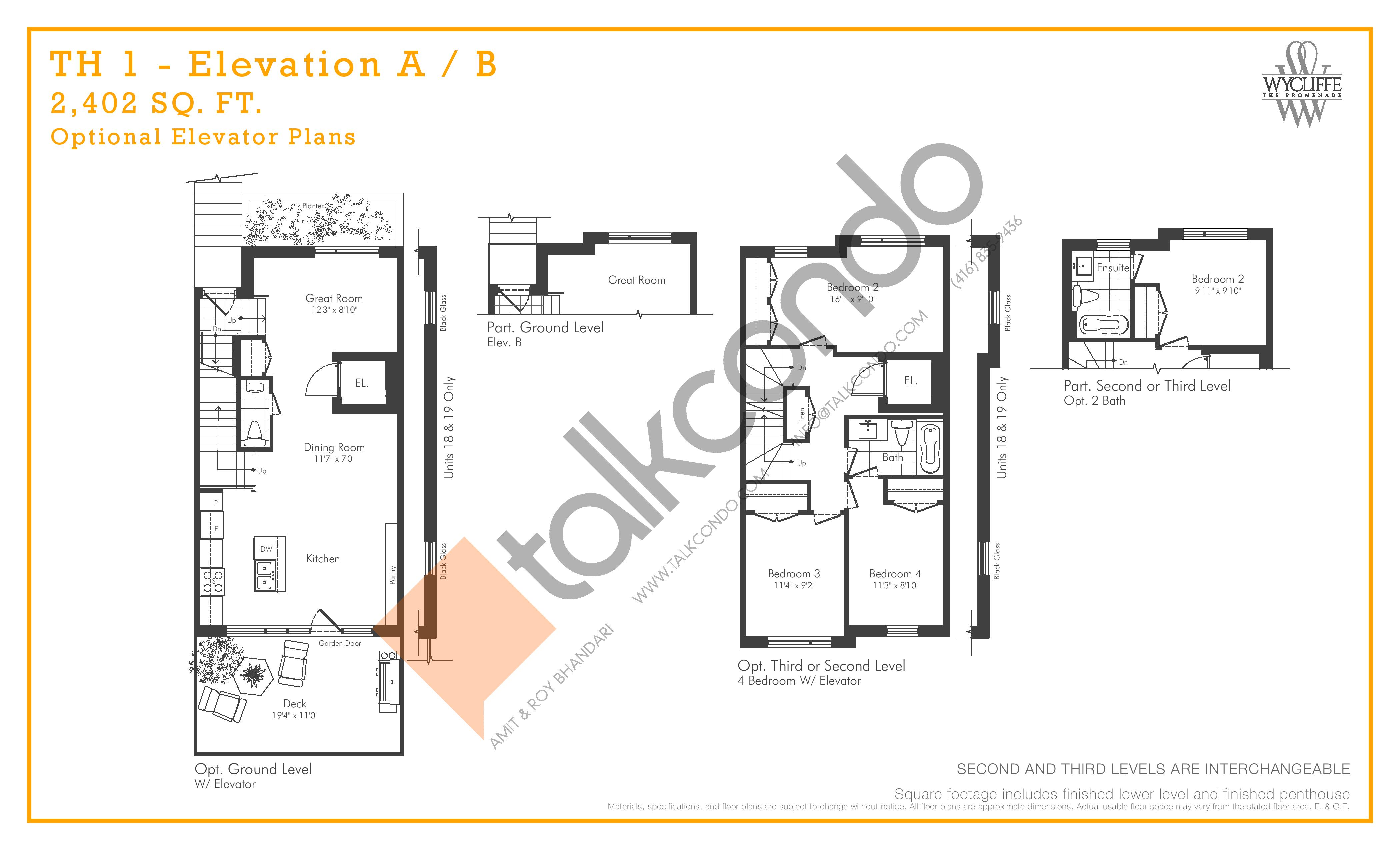 TH 1 - Elevation A/B Optional Elevator Plans Floor Plan at Wycliffe at the Promenade - 2402 sq.ft