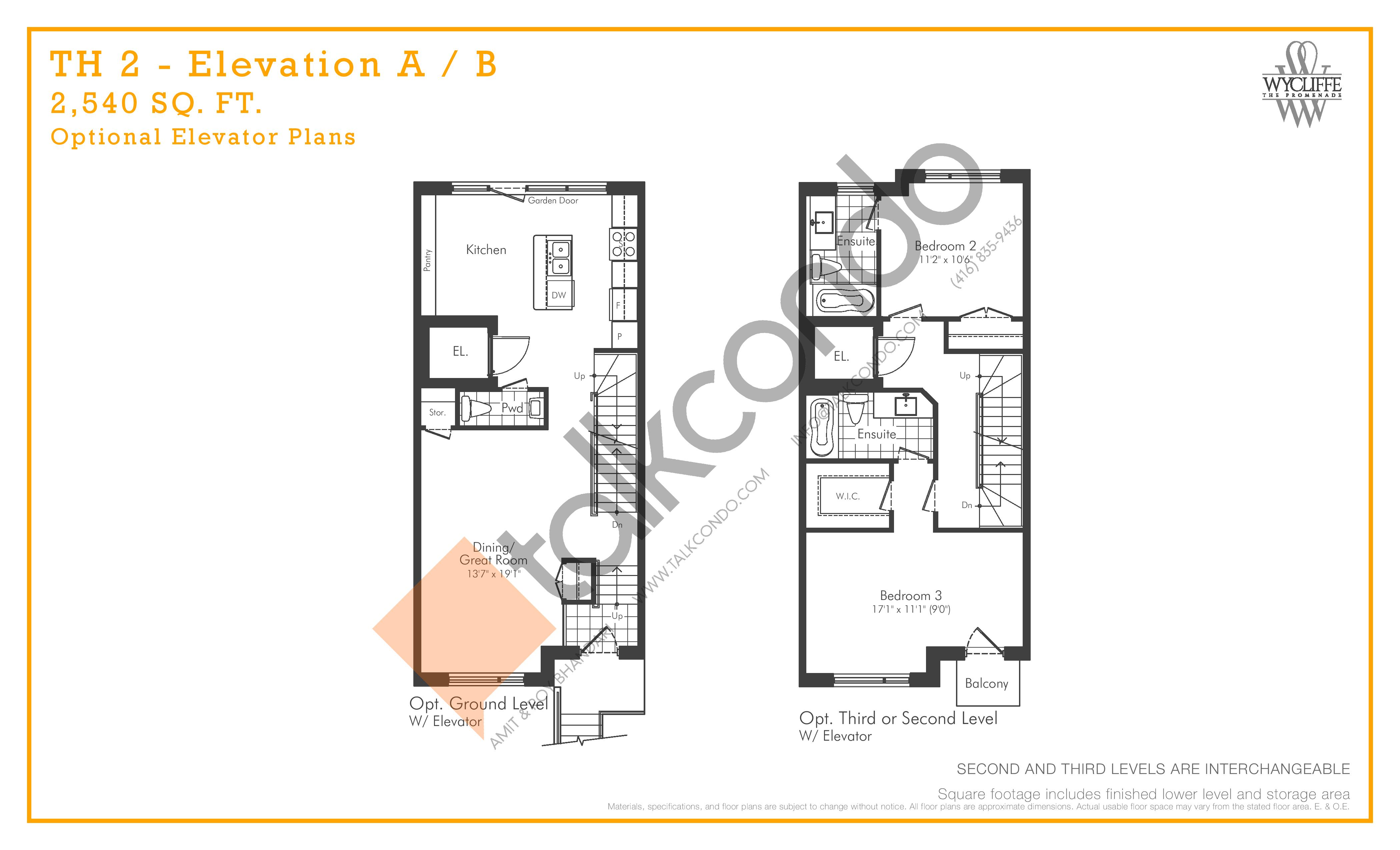 TH 2 - Elevation A/B Optional Elevator Plans Floor Plan at Wycliffe at the Promenade - 2540 sq.ft