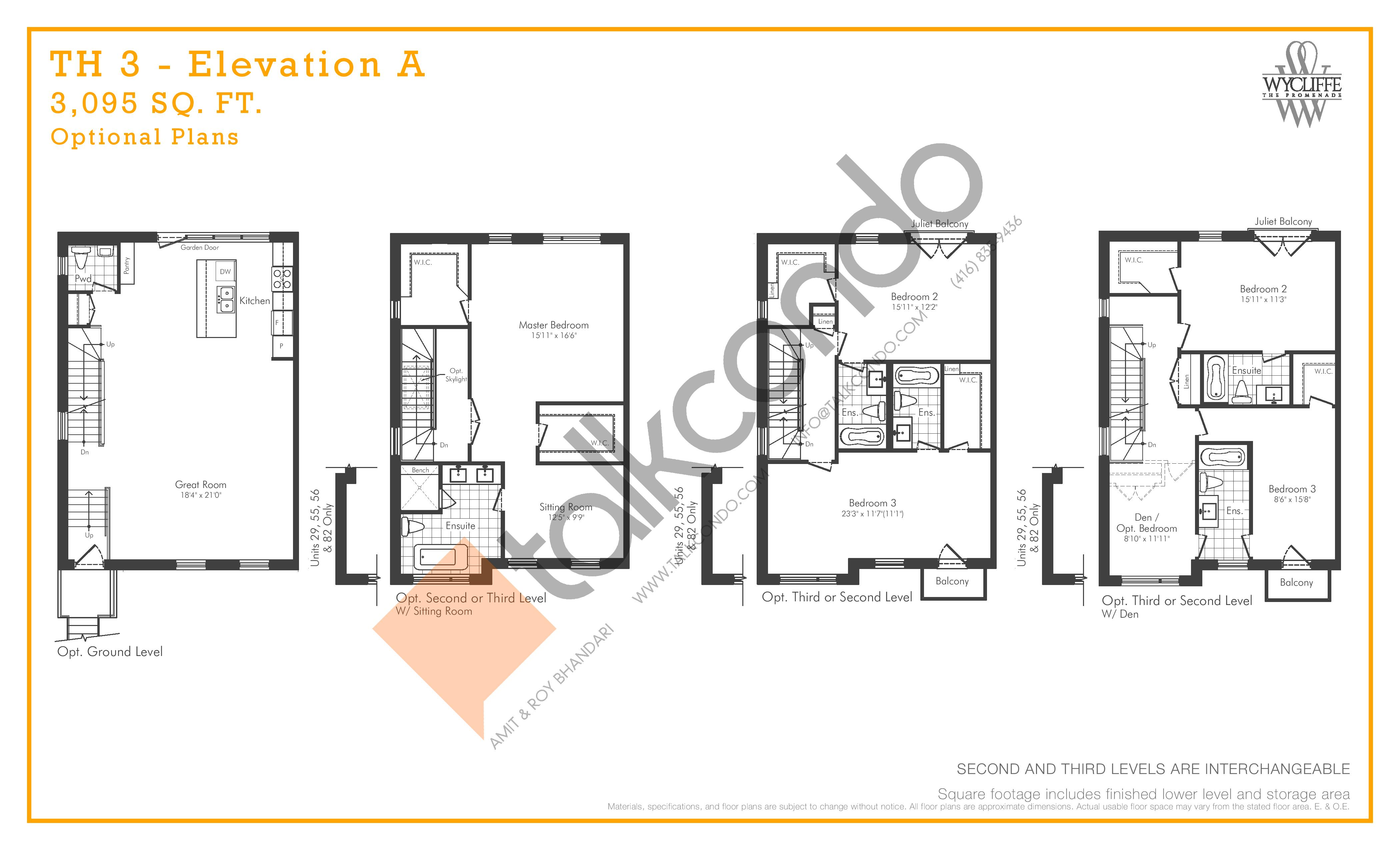 TH 3 - Elevation A Optional Plans Floor Plan at Wycliffe at the Promenade - 3095 sq.ft