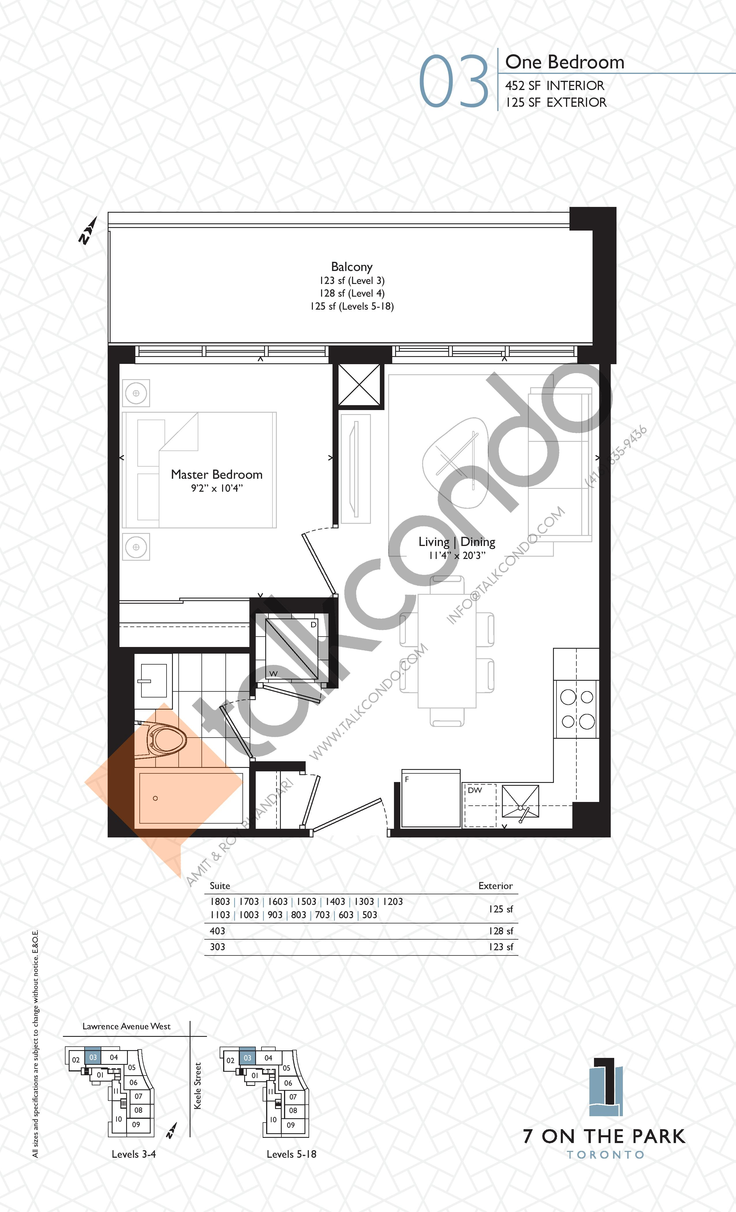 Suite 03 Floor Plan at 7 On The Park Condos - 452 sq.ft
