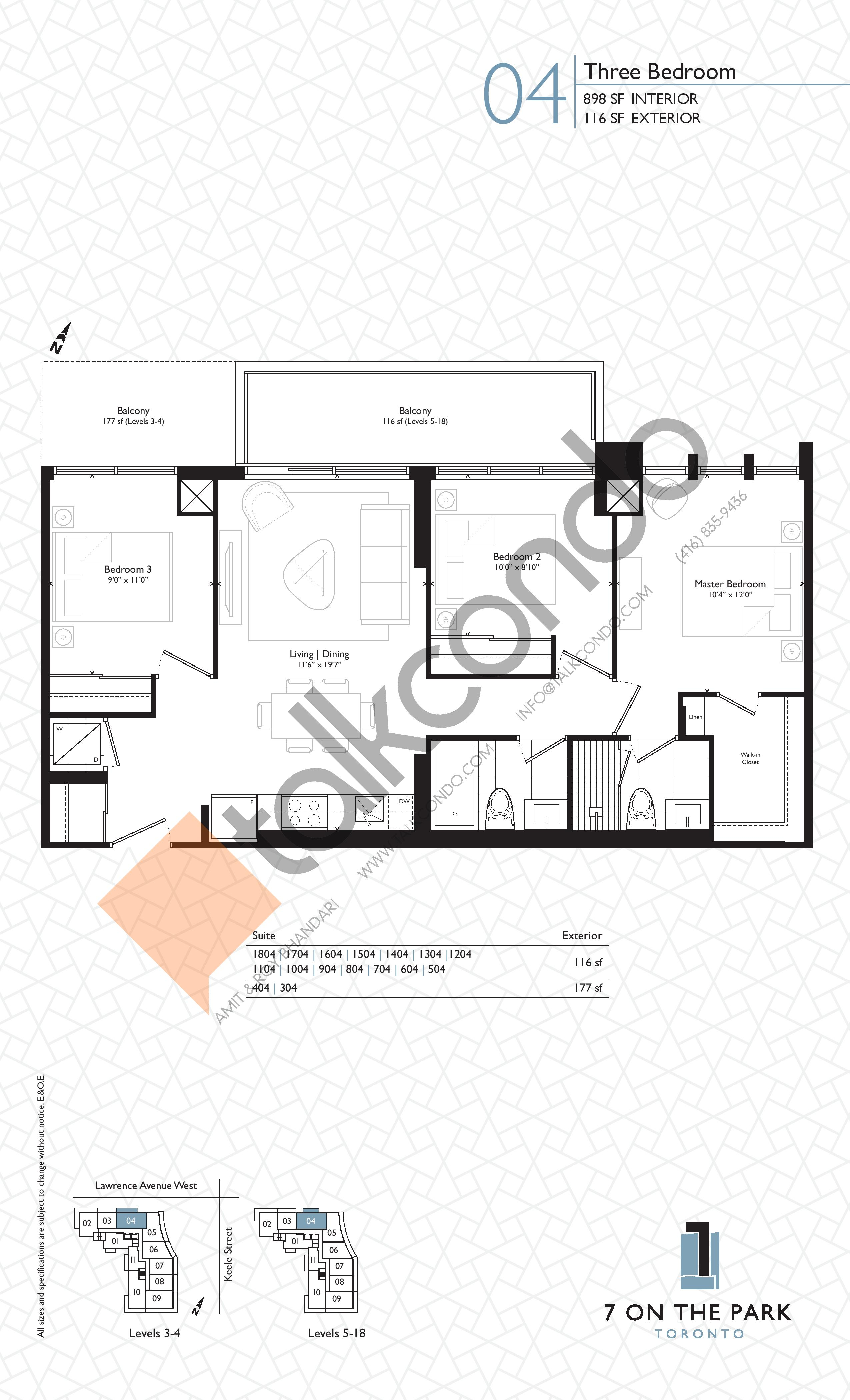 Suite 04 Floor Plan at 7 On The Park Condos - 898 sq.ft