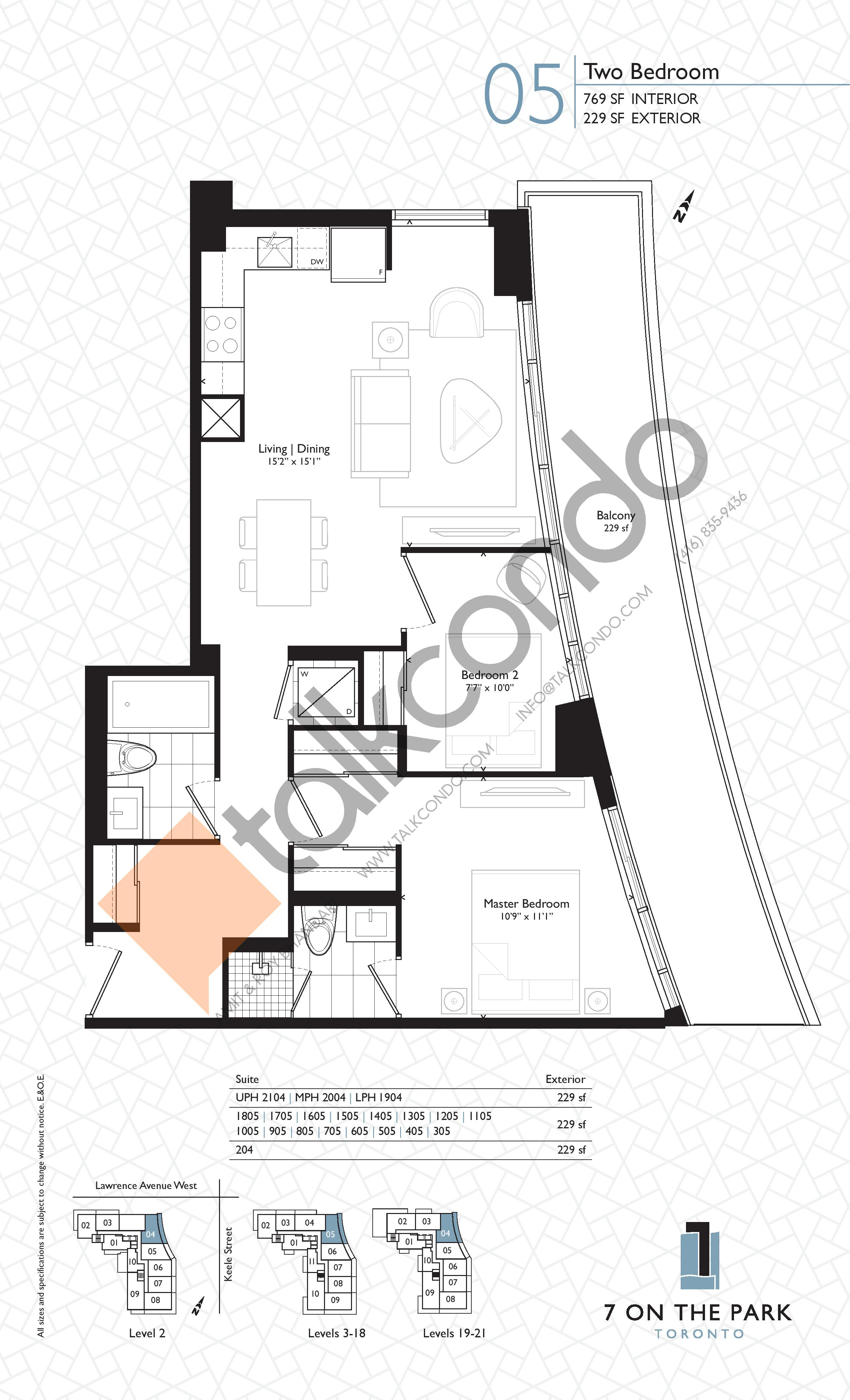 Suite 05 Floor Plan at 7 On The Park Condos - 769 sq.ft