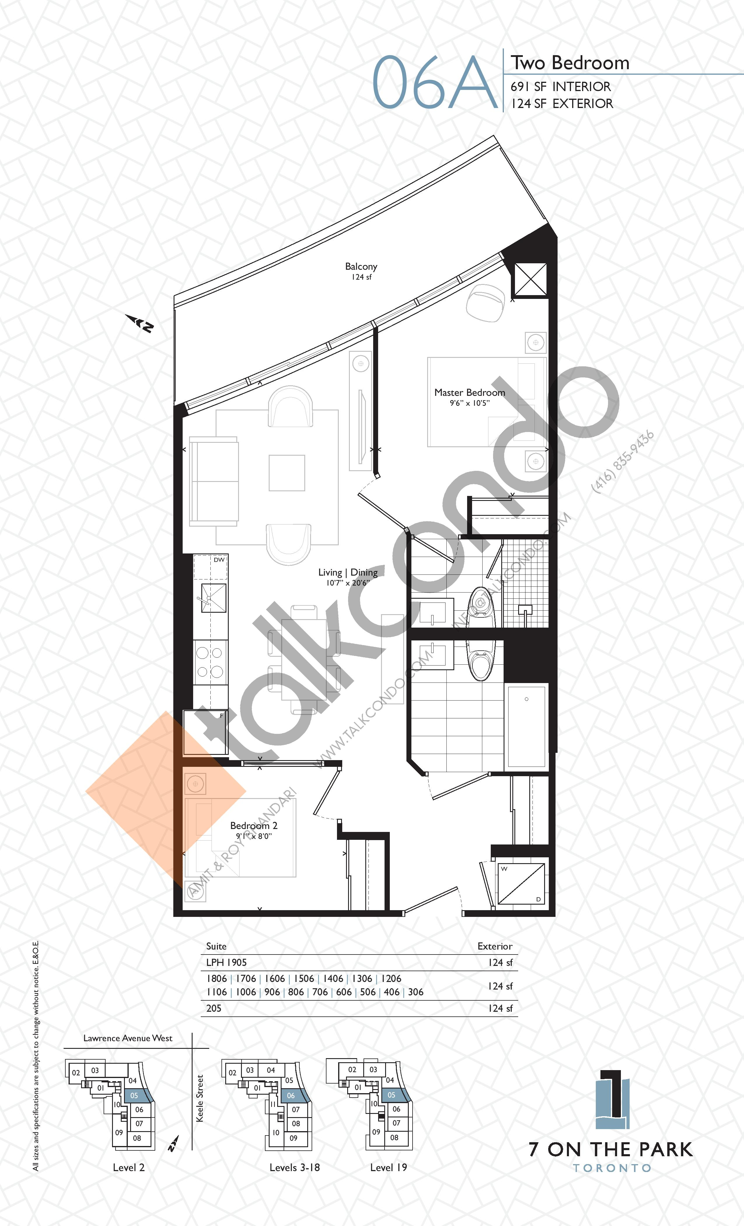 Suite 06A Floor Plan at 7 On The Park Condos - 691 sq.ft