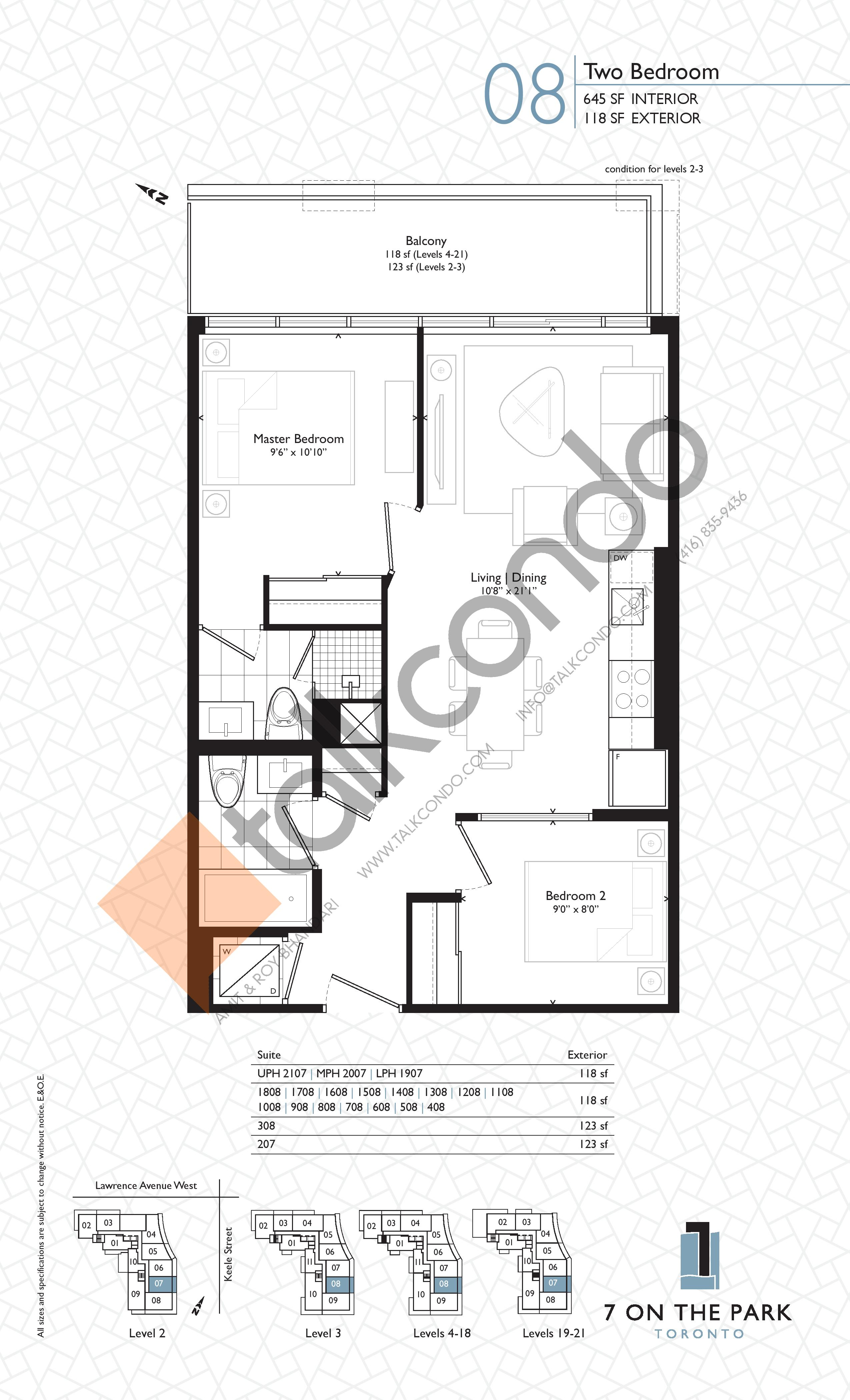 Suite 08 Floor Plan at 7 On The Park Condos - 645 sq.ft