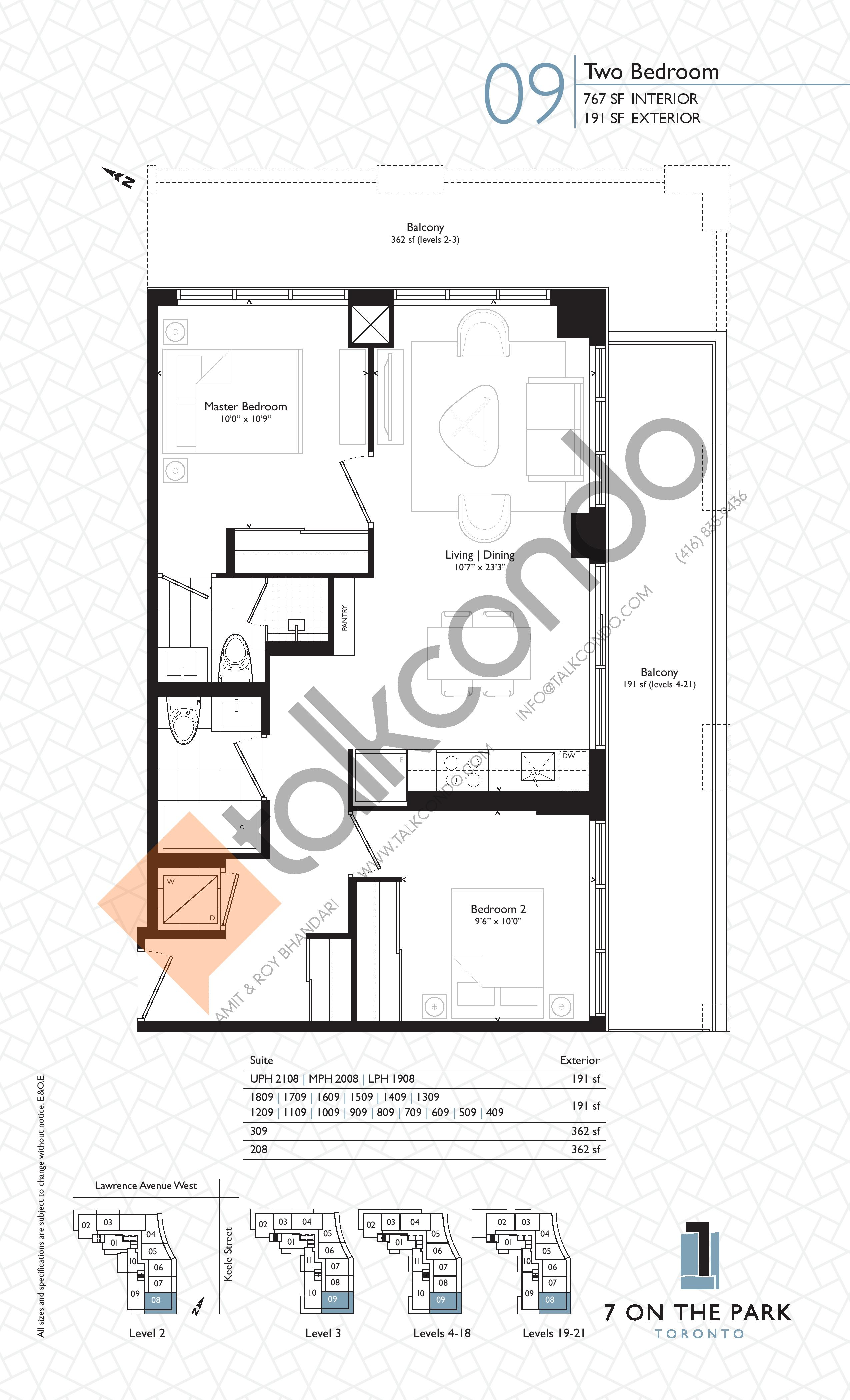 Suite 09 Floor Plan at 7 On The Park Condos - 767 sq.ft