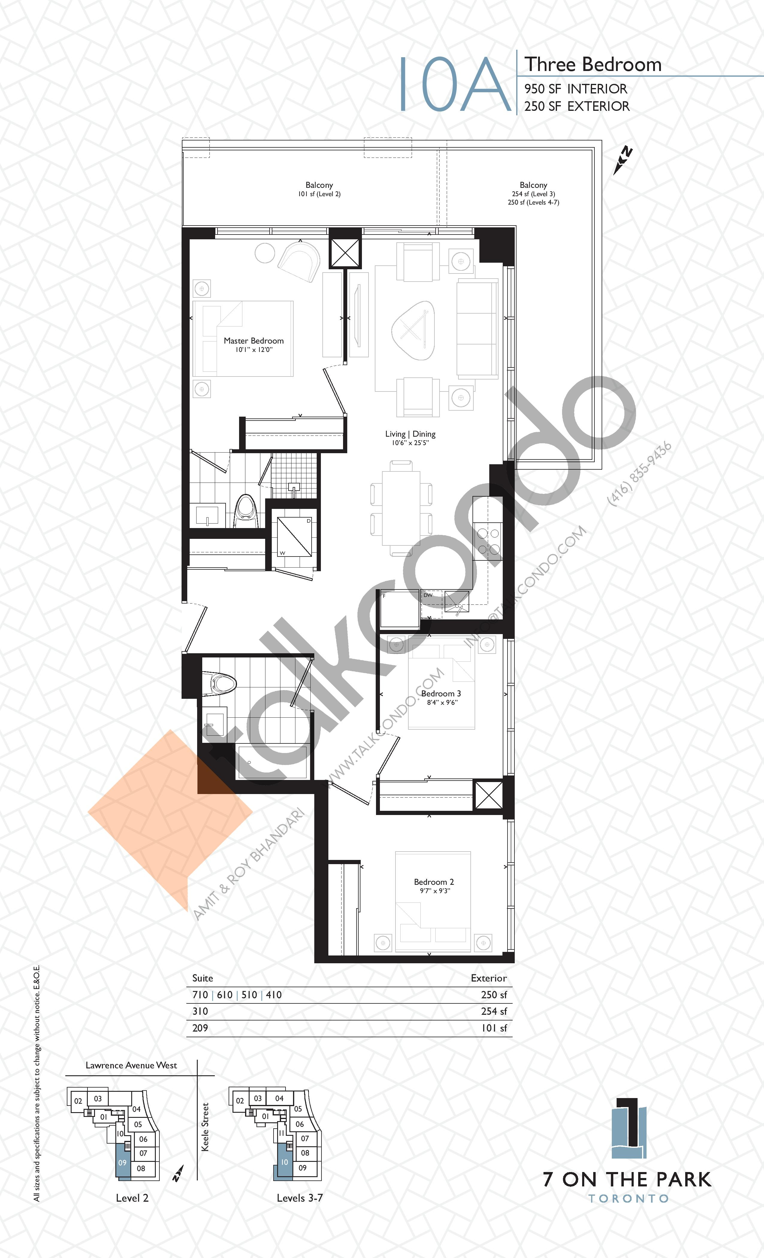 Suite 10A Floor Plan at 7 On The Park Condos - 950 sq.ft