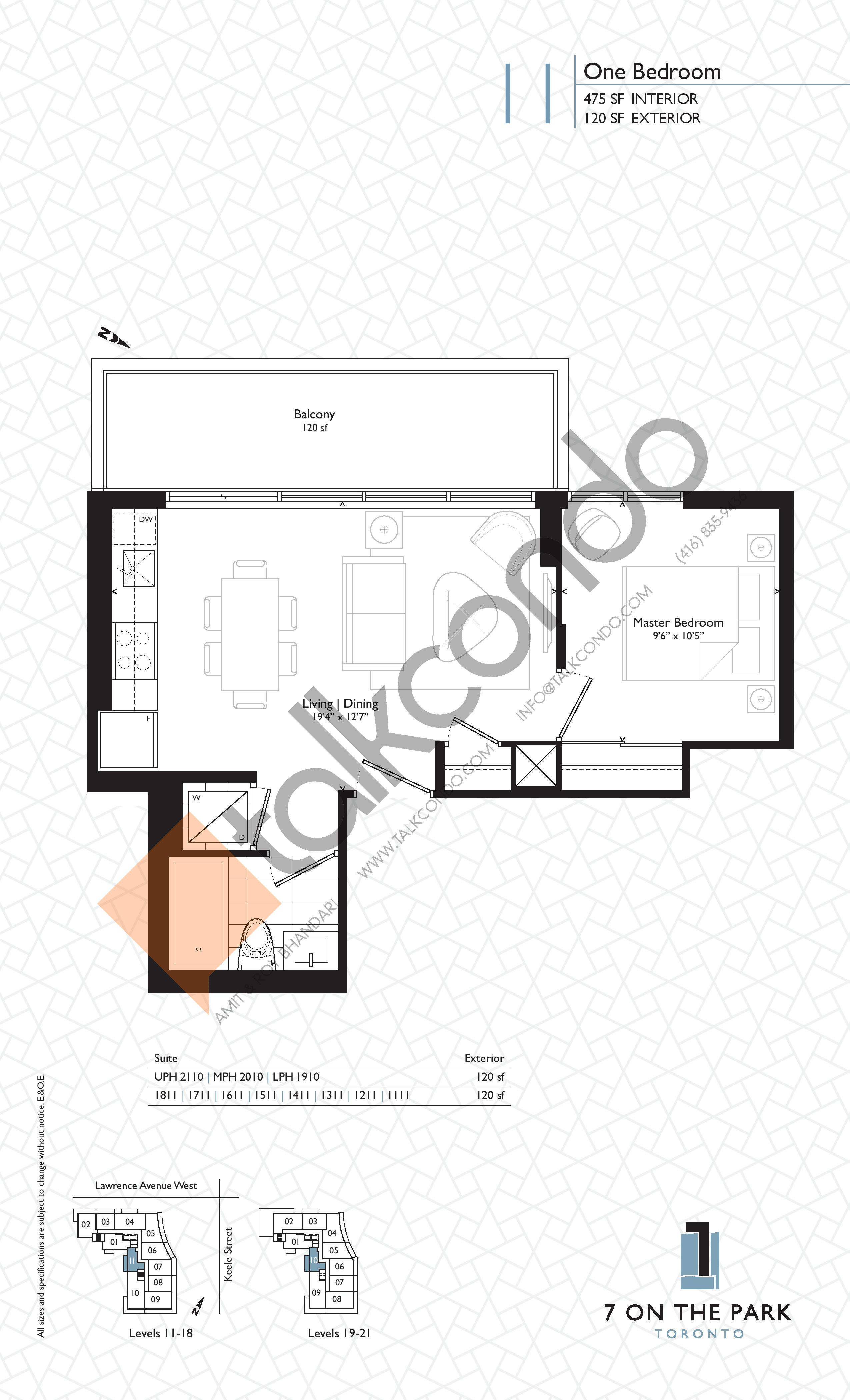 Suite 11 Floor Plan at 7 On The Park Condos - 475 sq.ft