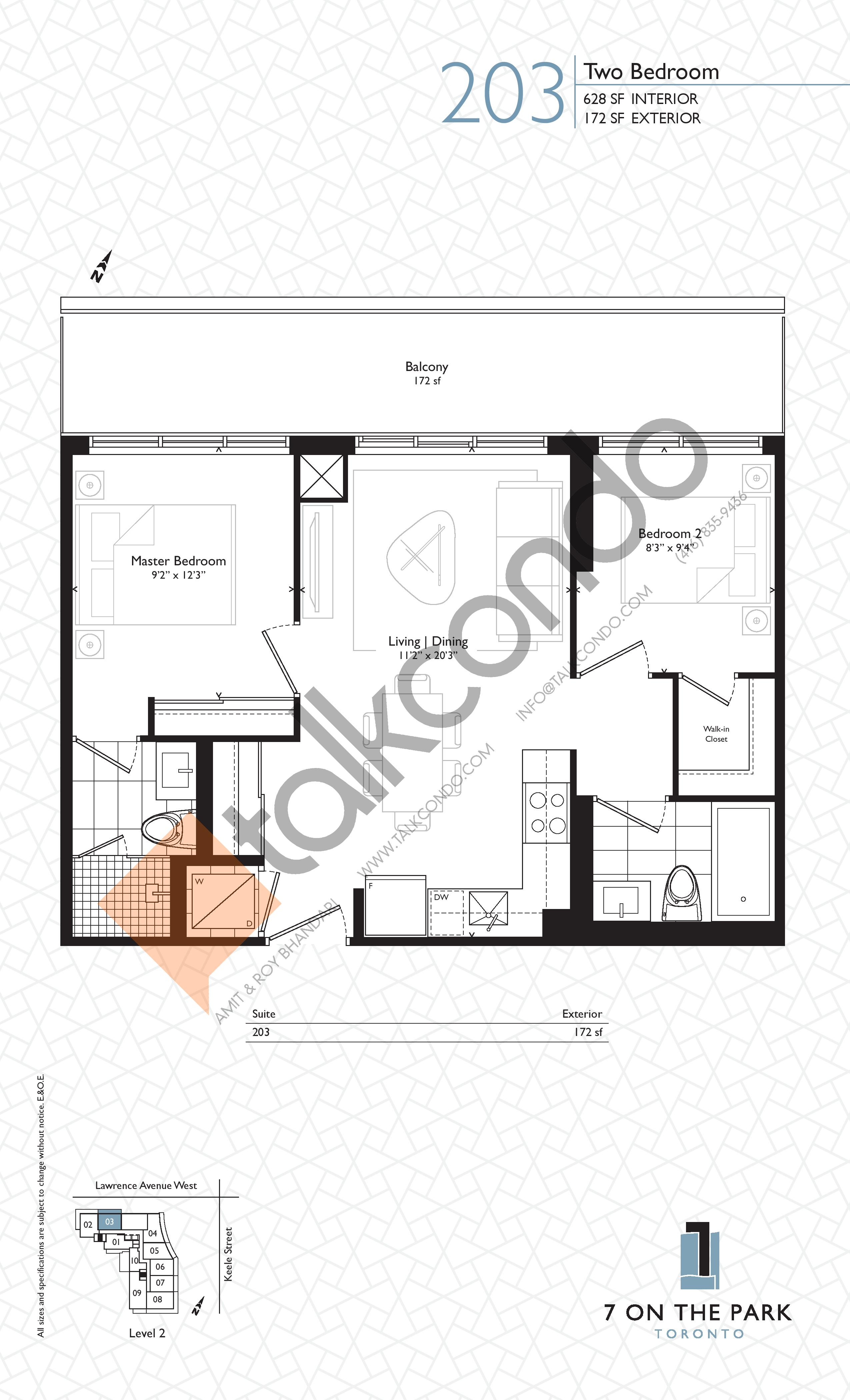 Suite 203 Floor Plan at 7 On The Park Condos - 628 sq.ft