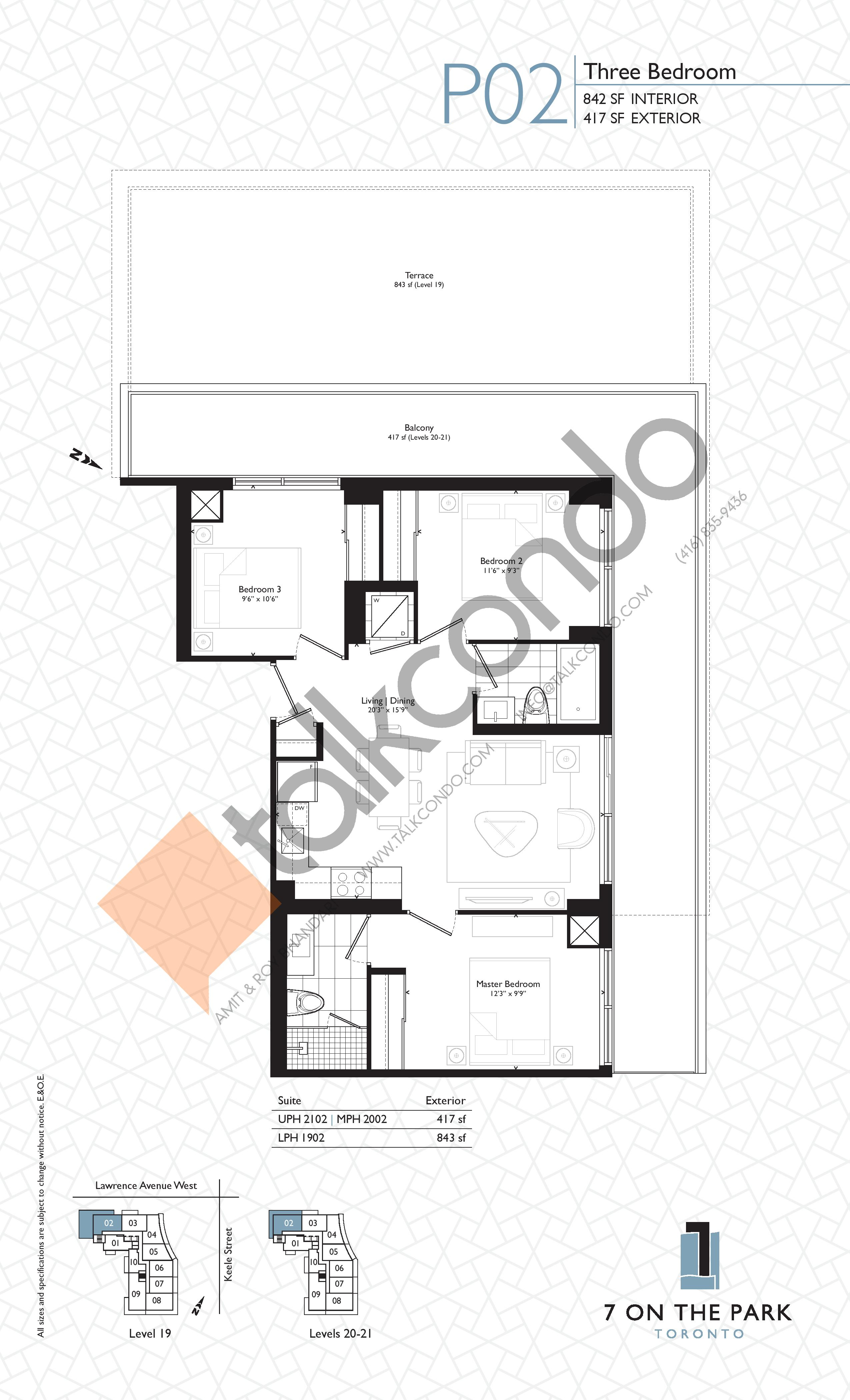 P02 Floor Plan at 7 On The Park Condos - 842 sq.ft