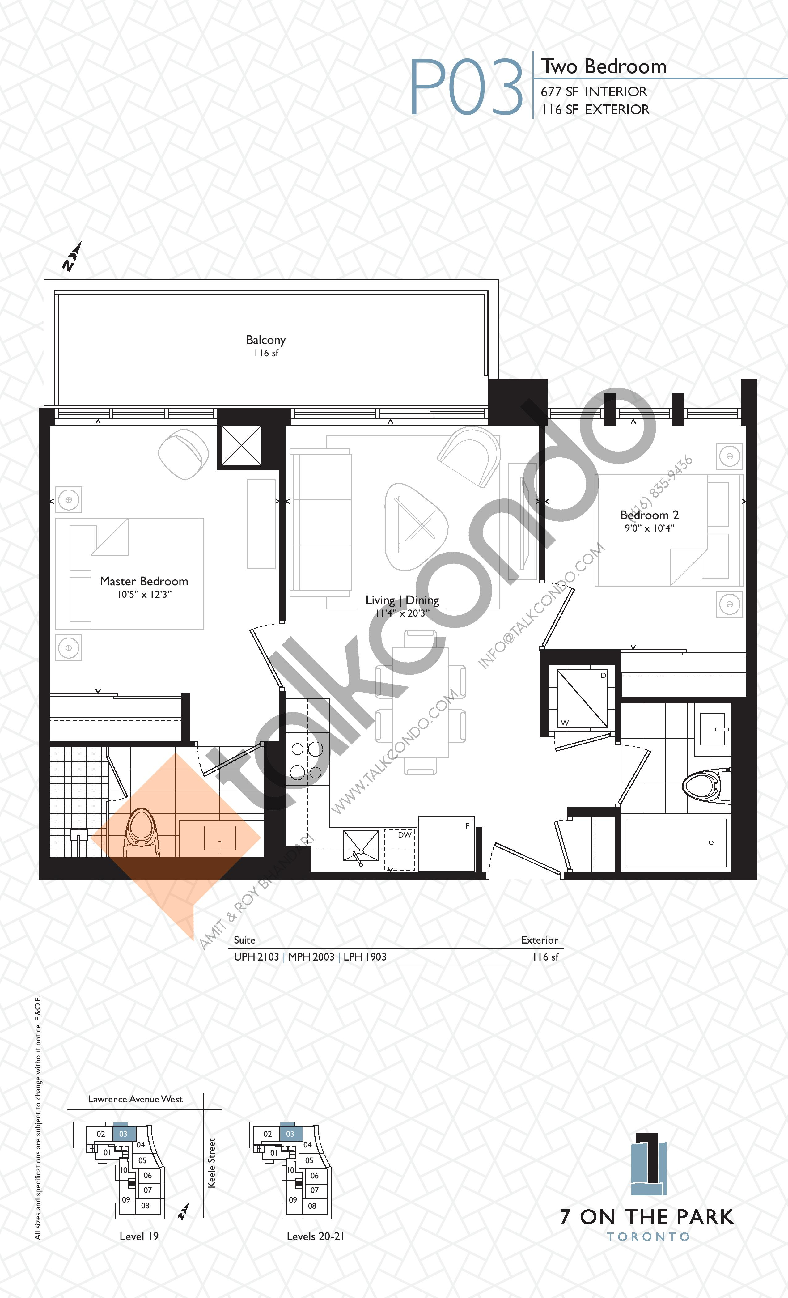 P03 Floor Plan at 7 On The Park Condos - 677 sq.ft