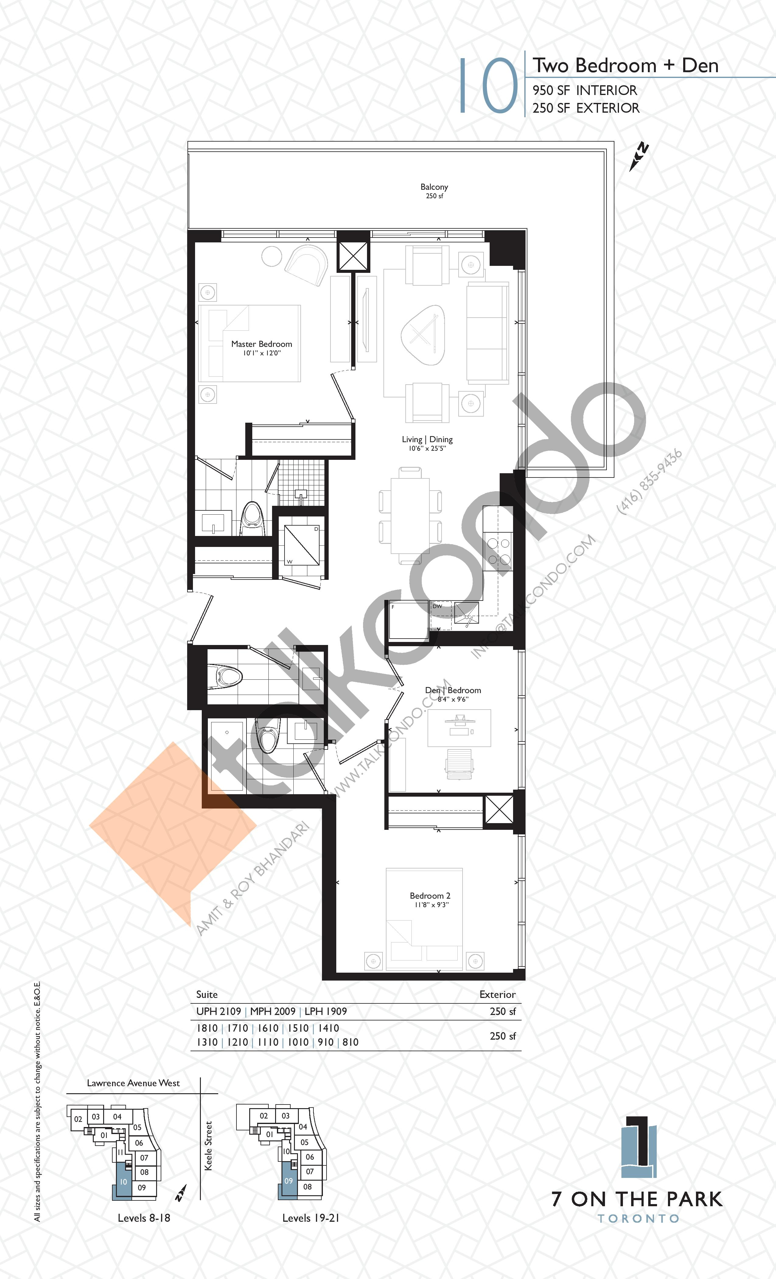 Suite 10 Floor Plan at 7 On The Park Condos - 950 sq.ft
