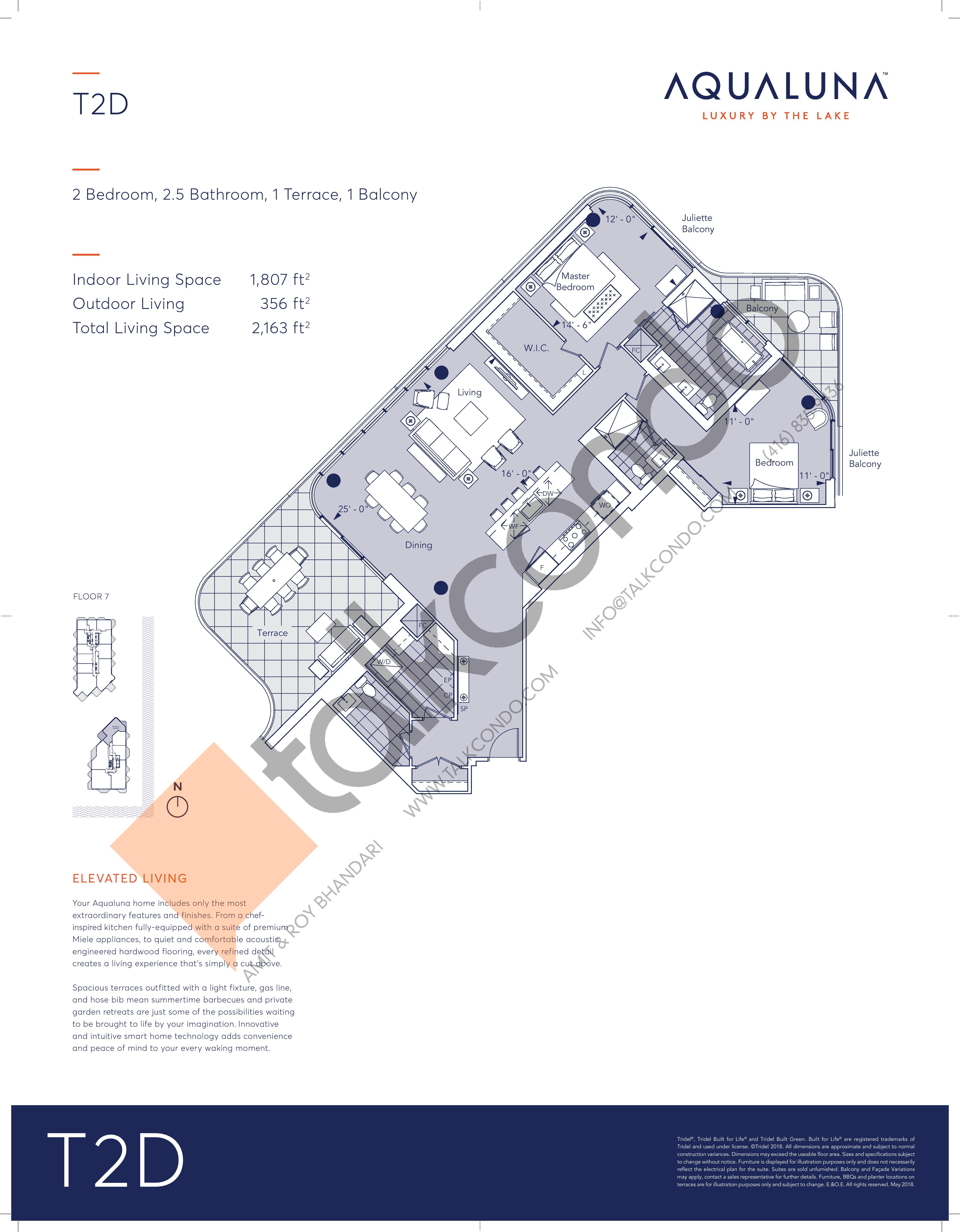 T2D Floor Plan at Aqualuna at Bayside Condos - 1807 sq.ft
