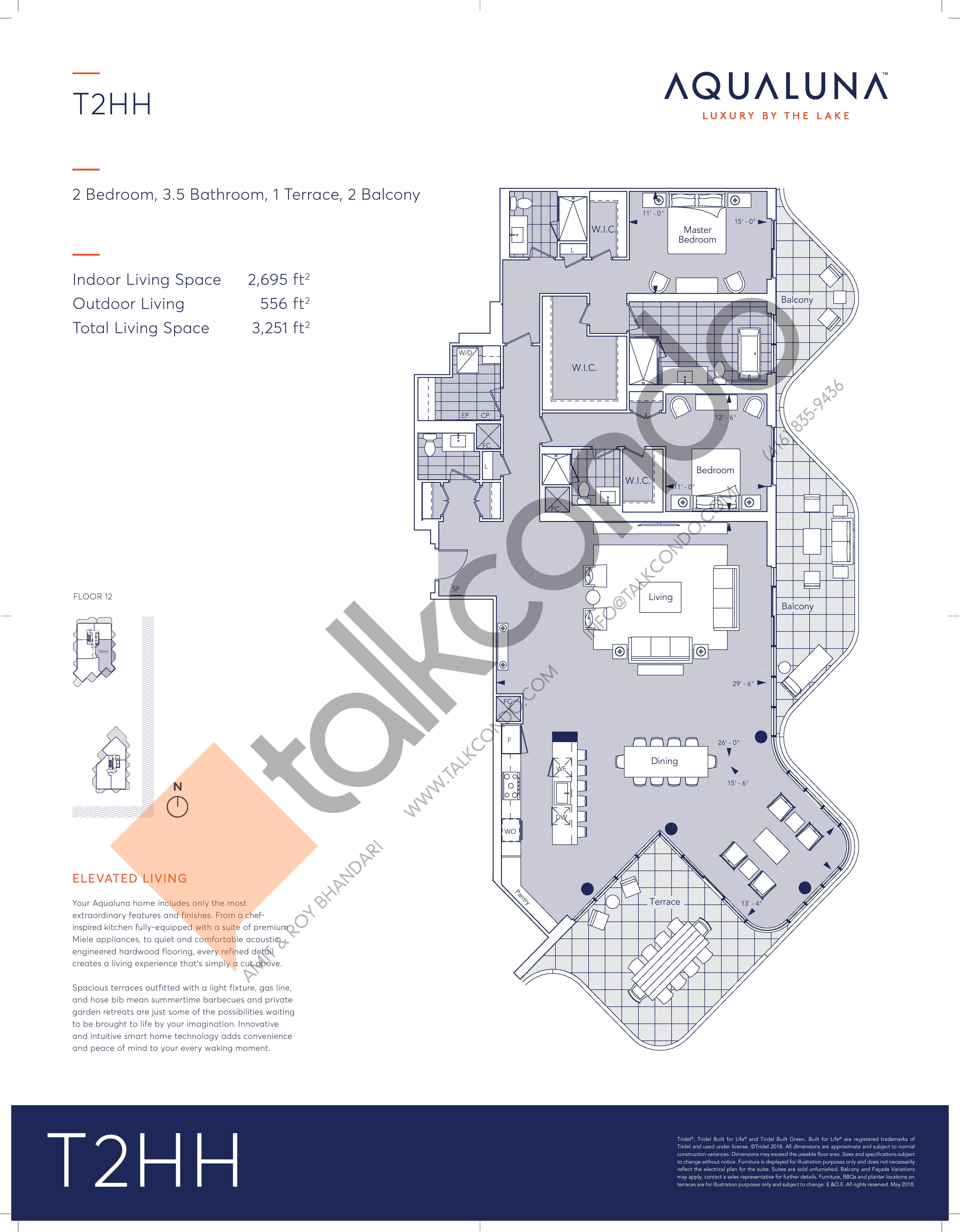 T2HH Floor Plan at Aqualuna at Bayside Condos - 2695 sq.ft