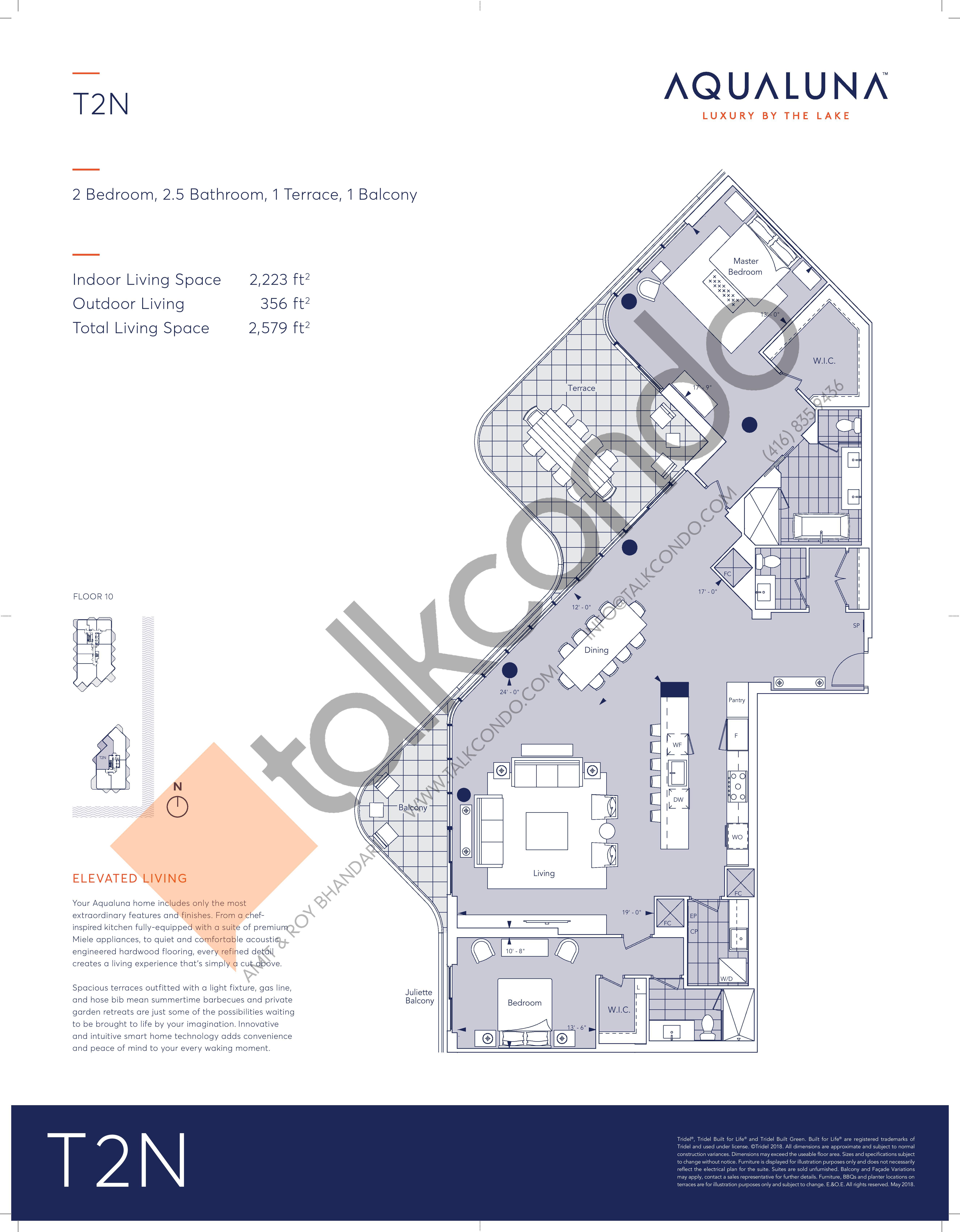 T2N Floor Plan at Aqualuna at Bayside Condos - 2223 sq.ft