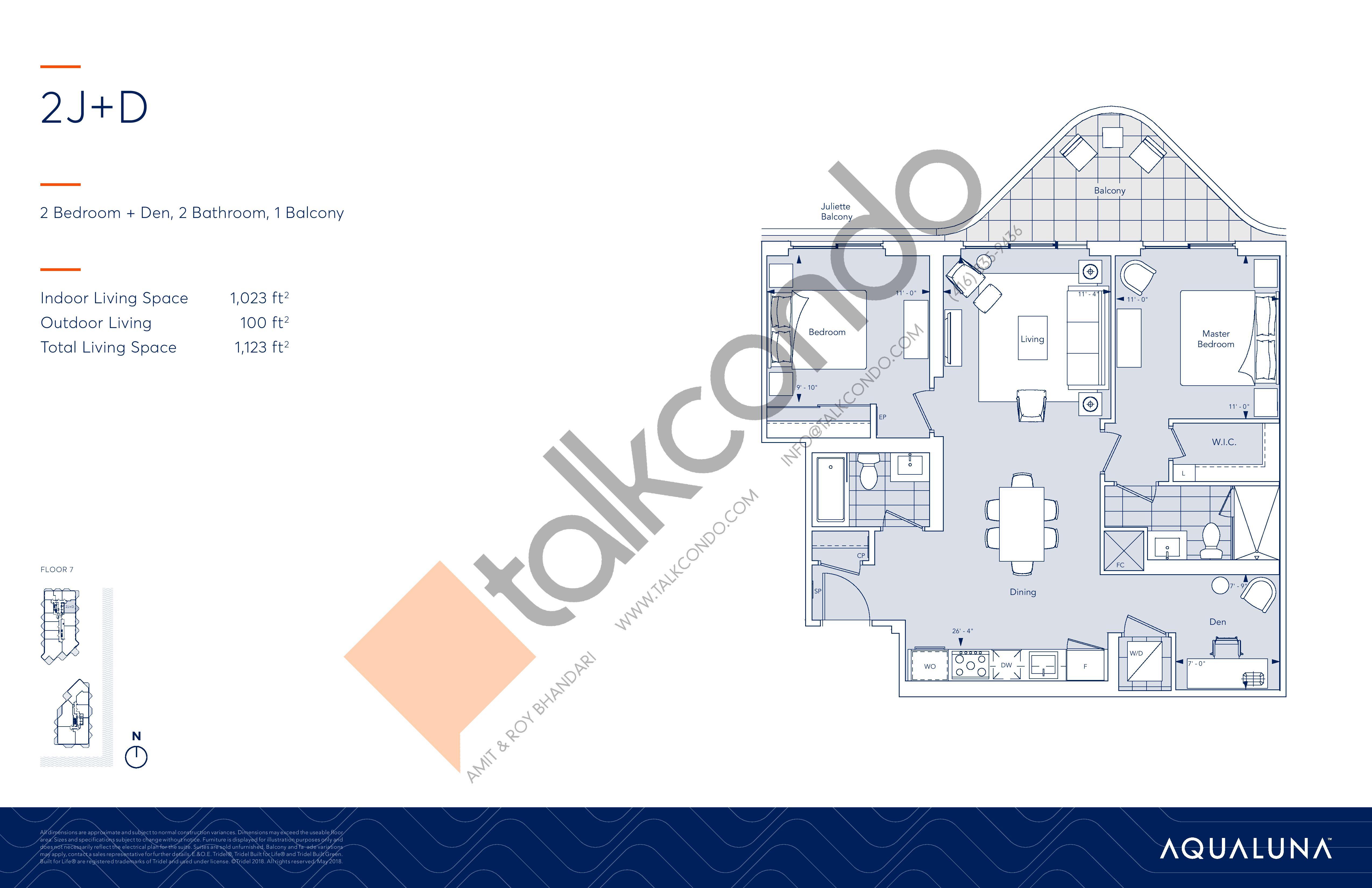 2J+D Floor Plan at Aqualuna at Bayside Condos - 1023 sq.ft