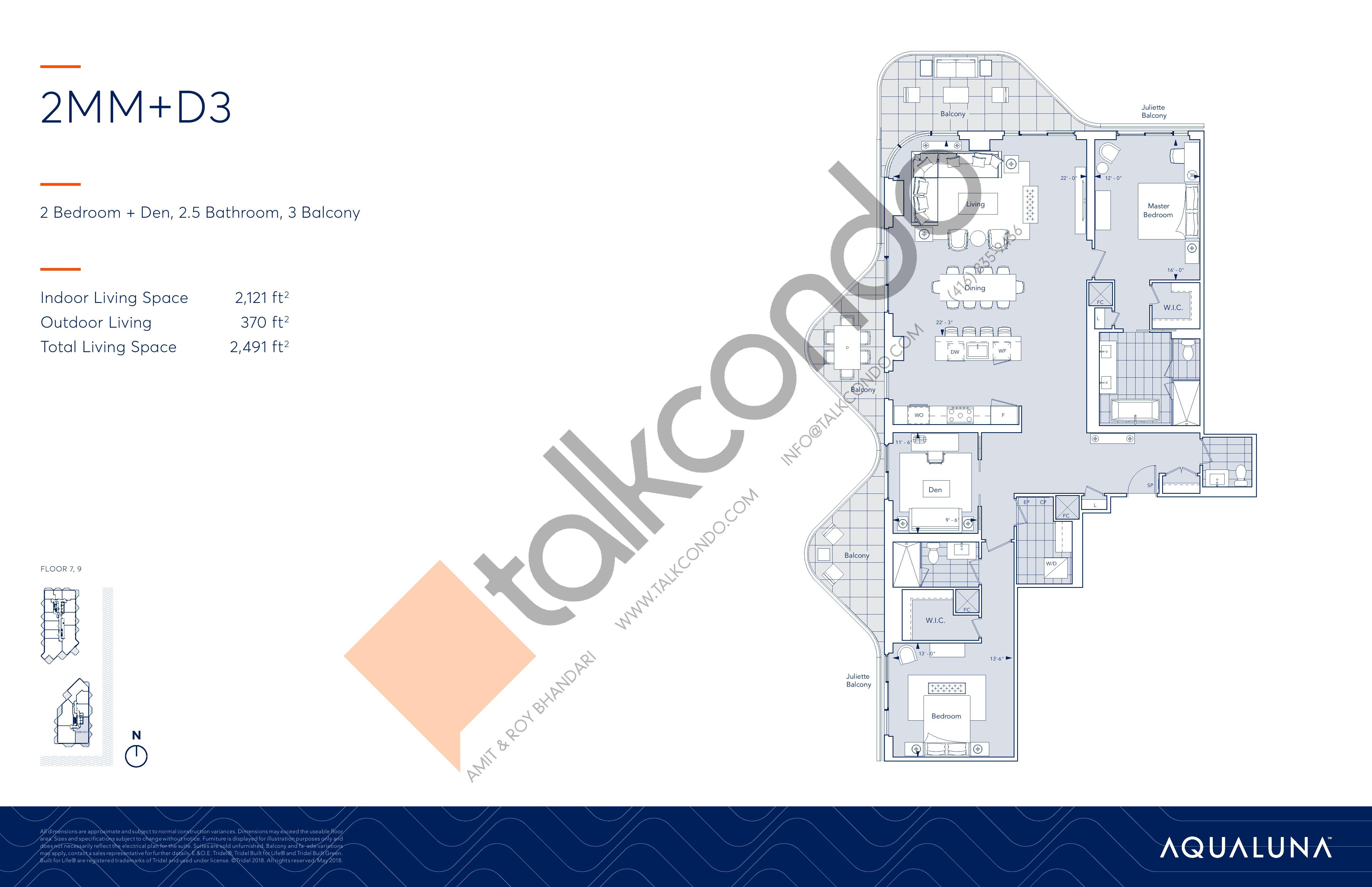 2MM+D3 Floor Plan at Aqualuna at Bayside Condos - 2121 sq.ft