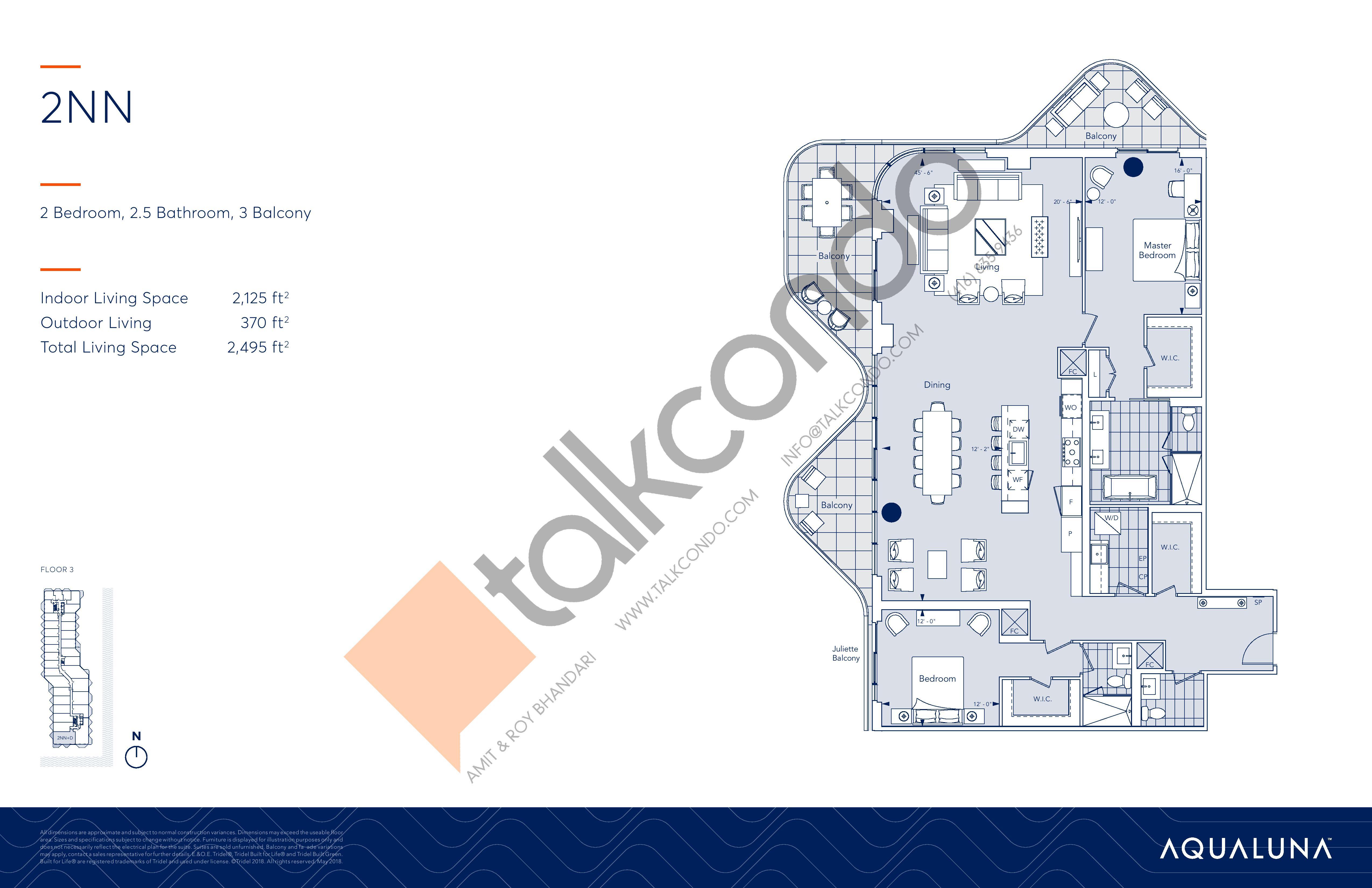 2NN Floor Plan at Aqualuna at Bayside Condos - 2125 sq.ft