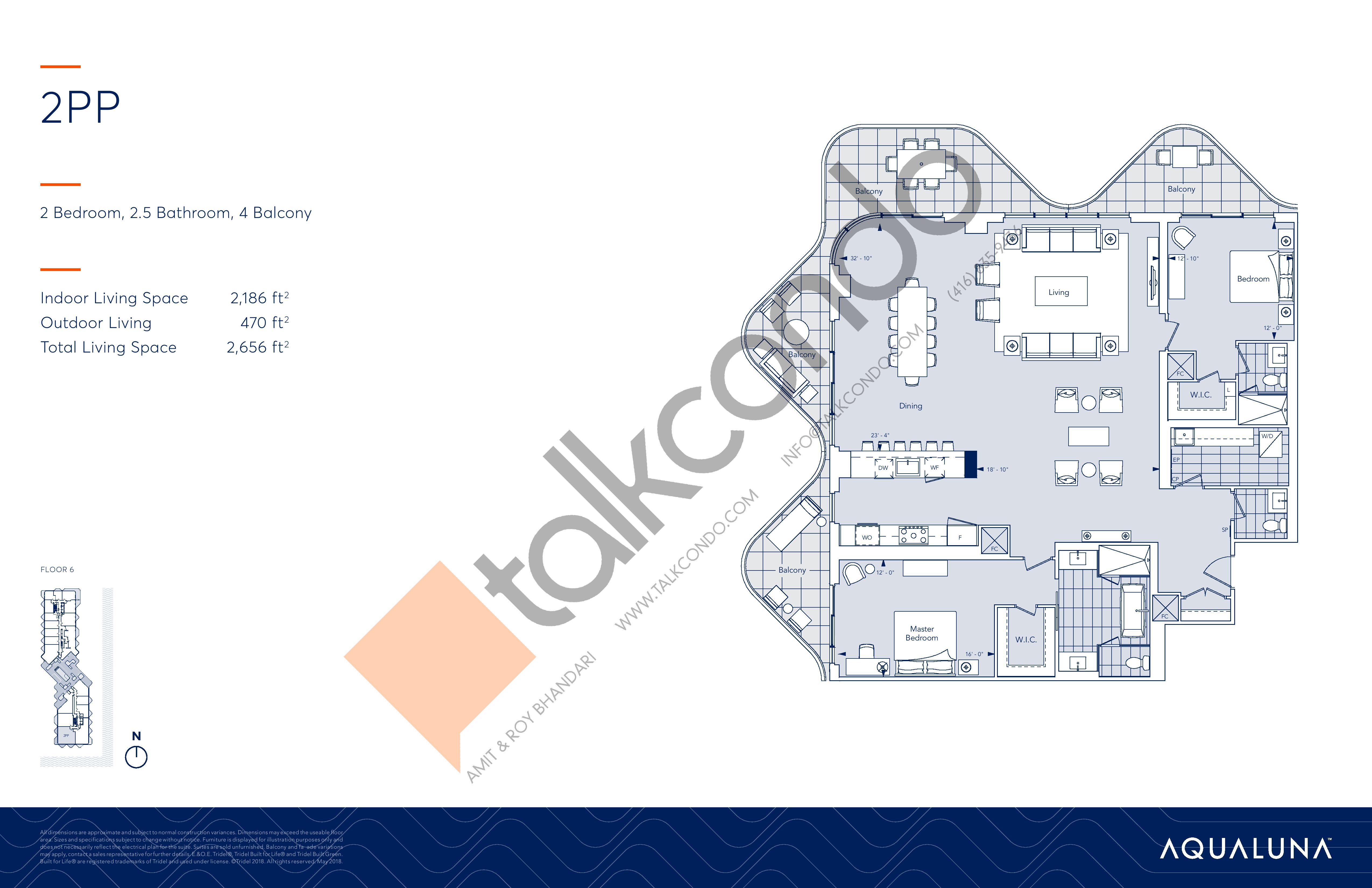 2PP Floor Plan at Aqualuna at Bayside Condos - 2186 sq.ft