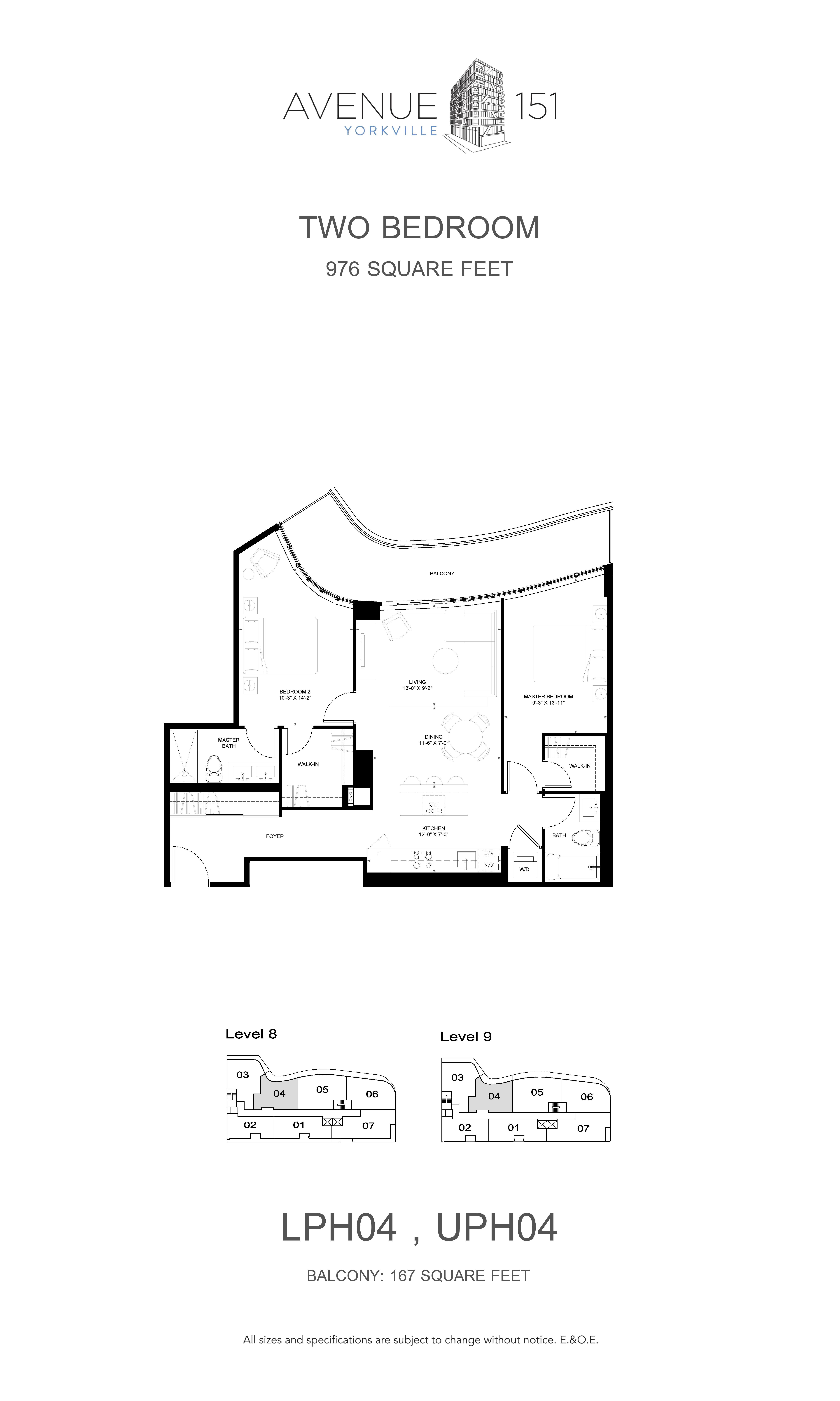 LPH04 Floor Plan at Avenue 151 Yorkville Condos - 976 sq.ft