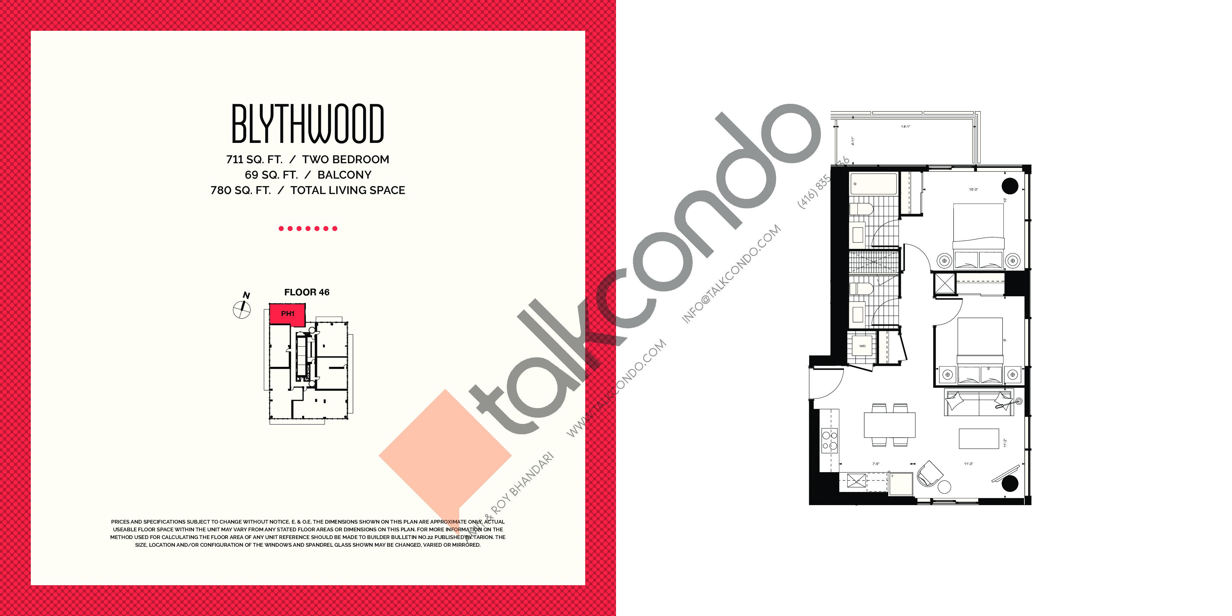 Blythwood Floor Plan at E2 Condos - 711 sq.ft