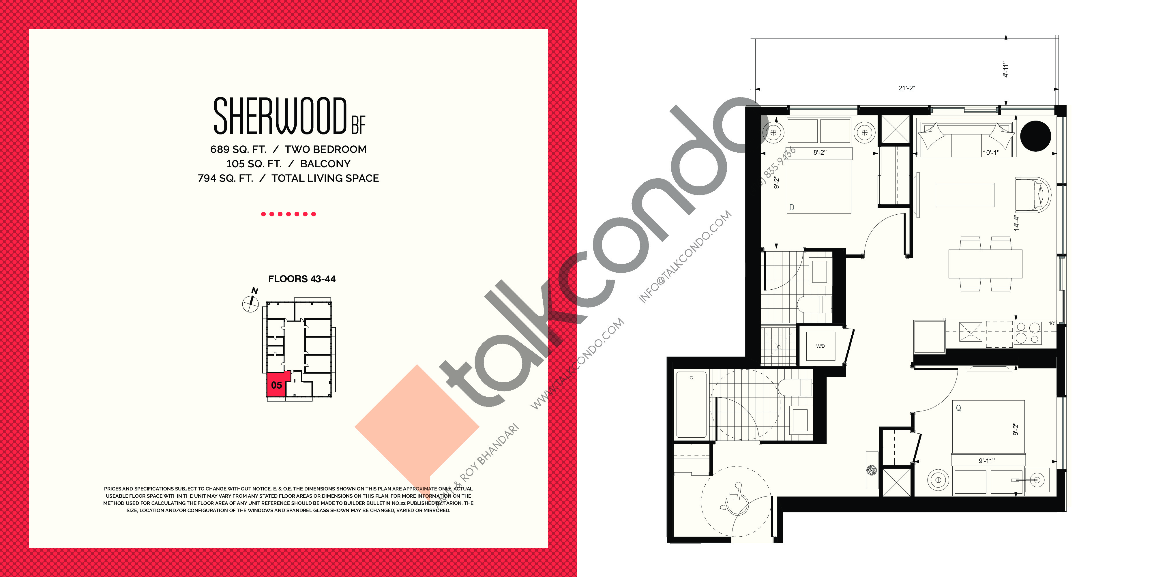 Sherwood BF Floor Plan at E2 Condos - 689 sq.ft