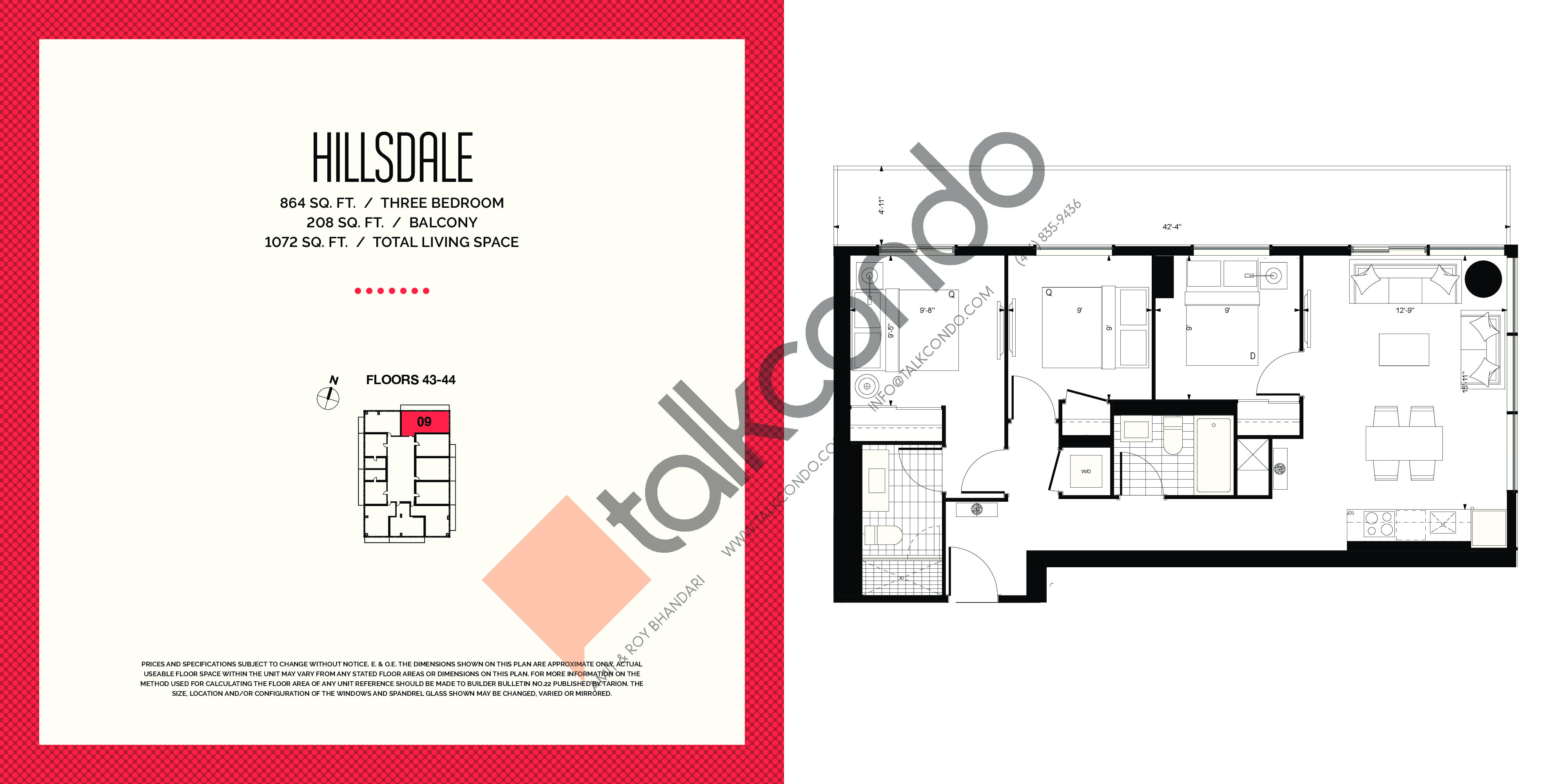 Hillsdale Floor Plan at E2 Condos - 864 sq.ft