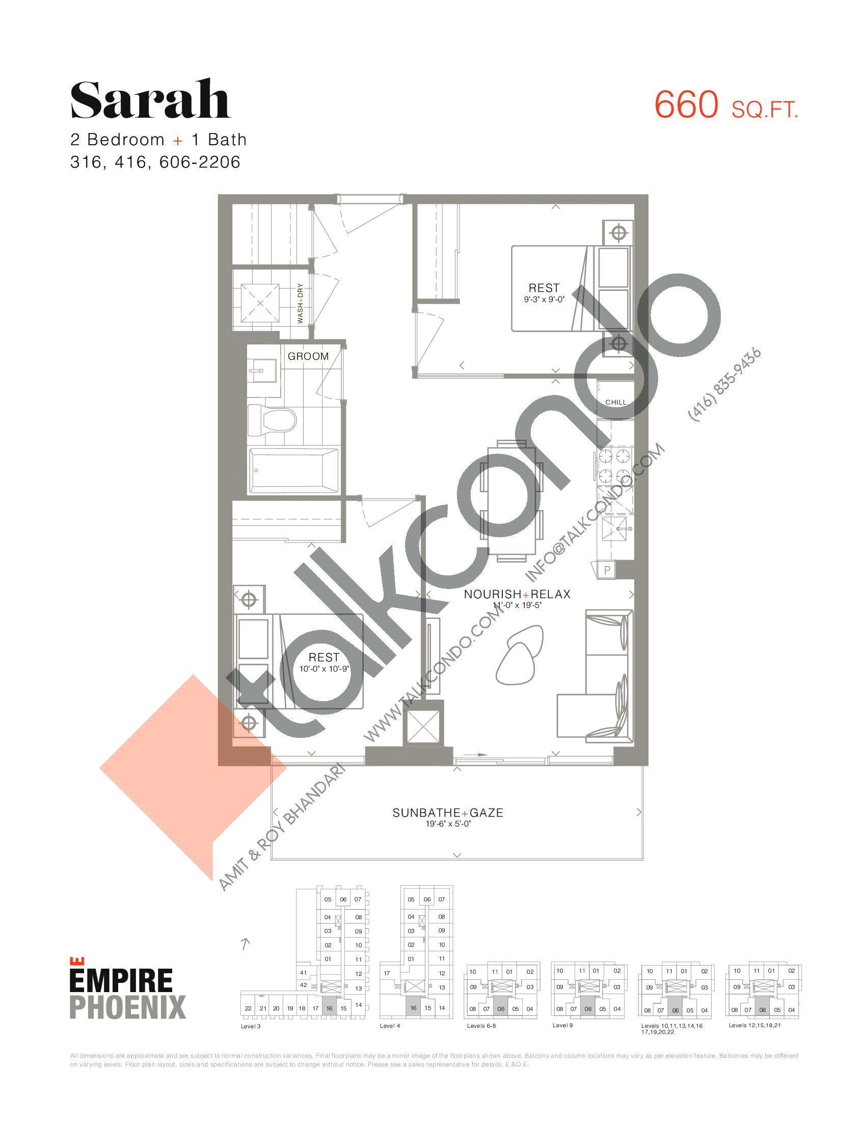 Sarah Floor Plan at Empire Phoenix Condos - 660 sq.ft