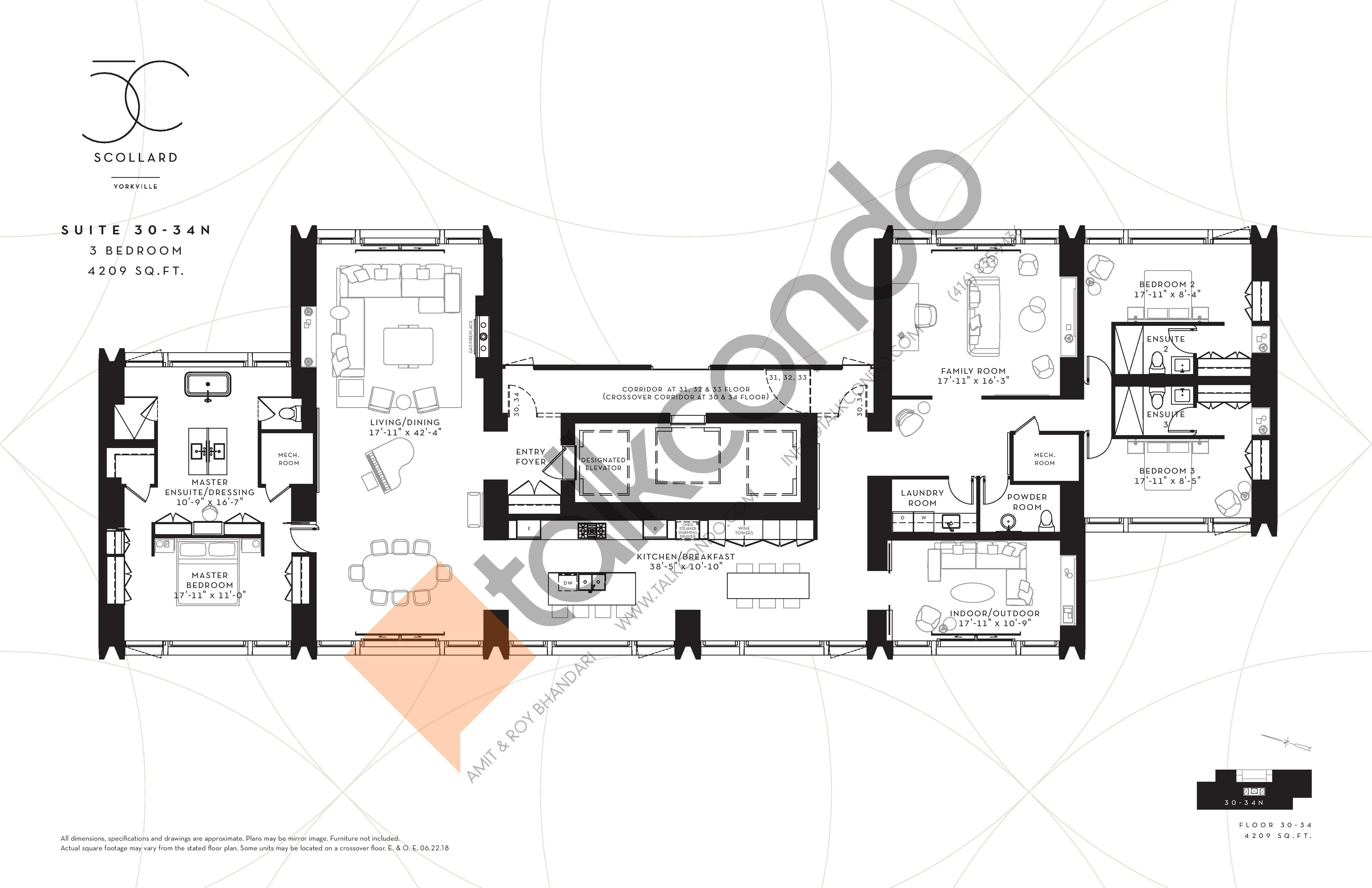 Suite 30-34N Floor Plan at Fifty Scollard Condos - 4209 sq.ft