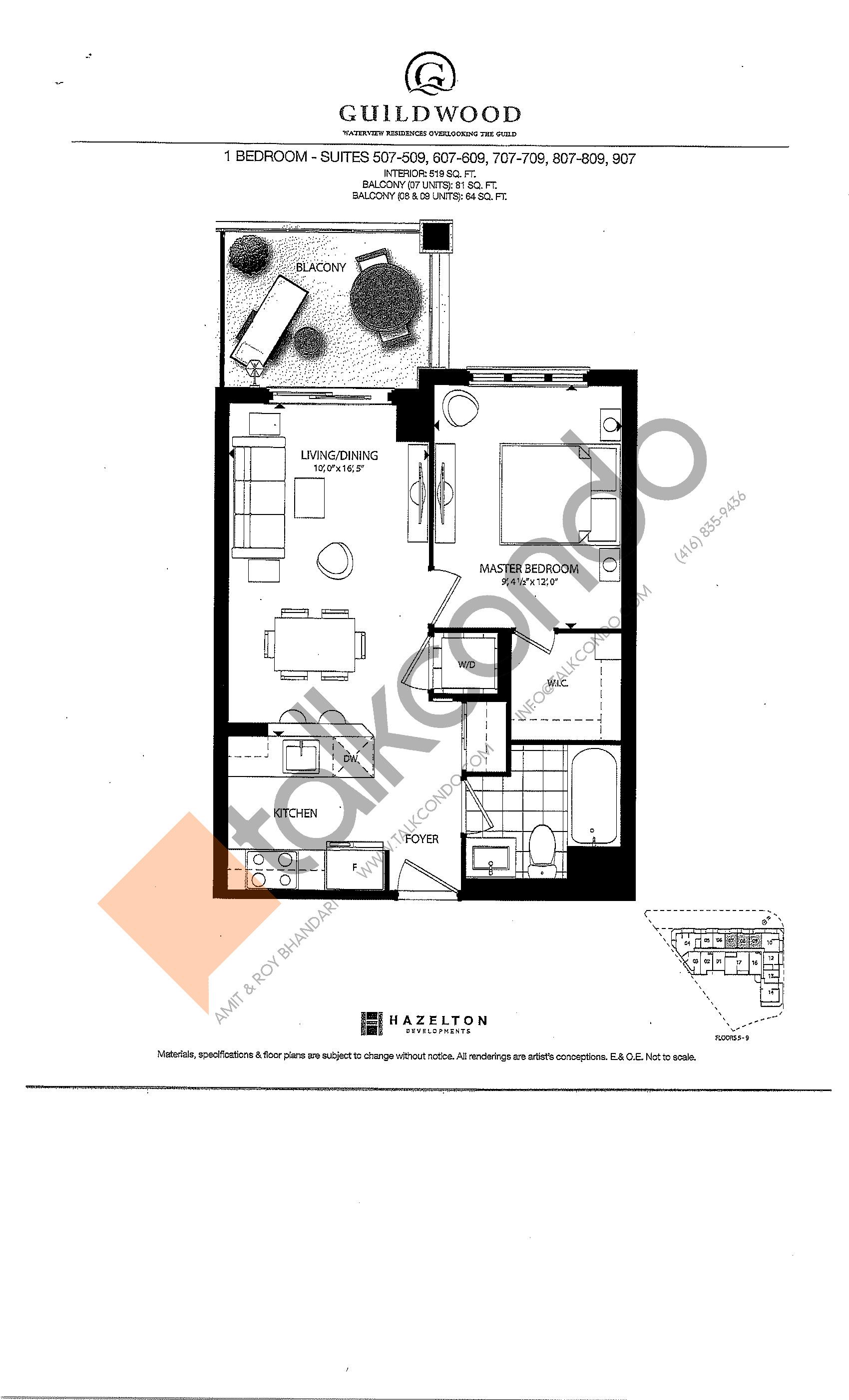 Suites 507-509, 607-609, 707-709, 807-809, 907 Floor Plan at Guildwood Condos - 519 sq.ft