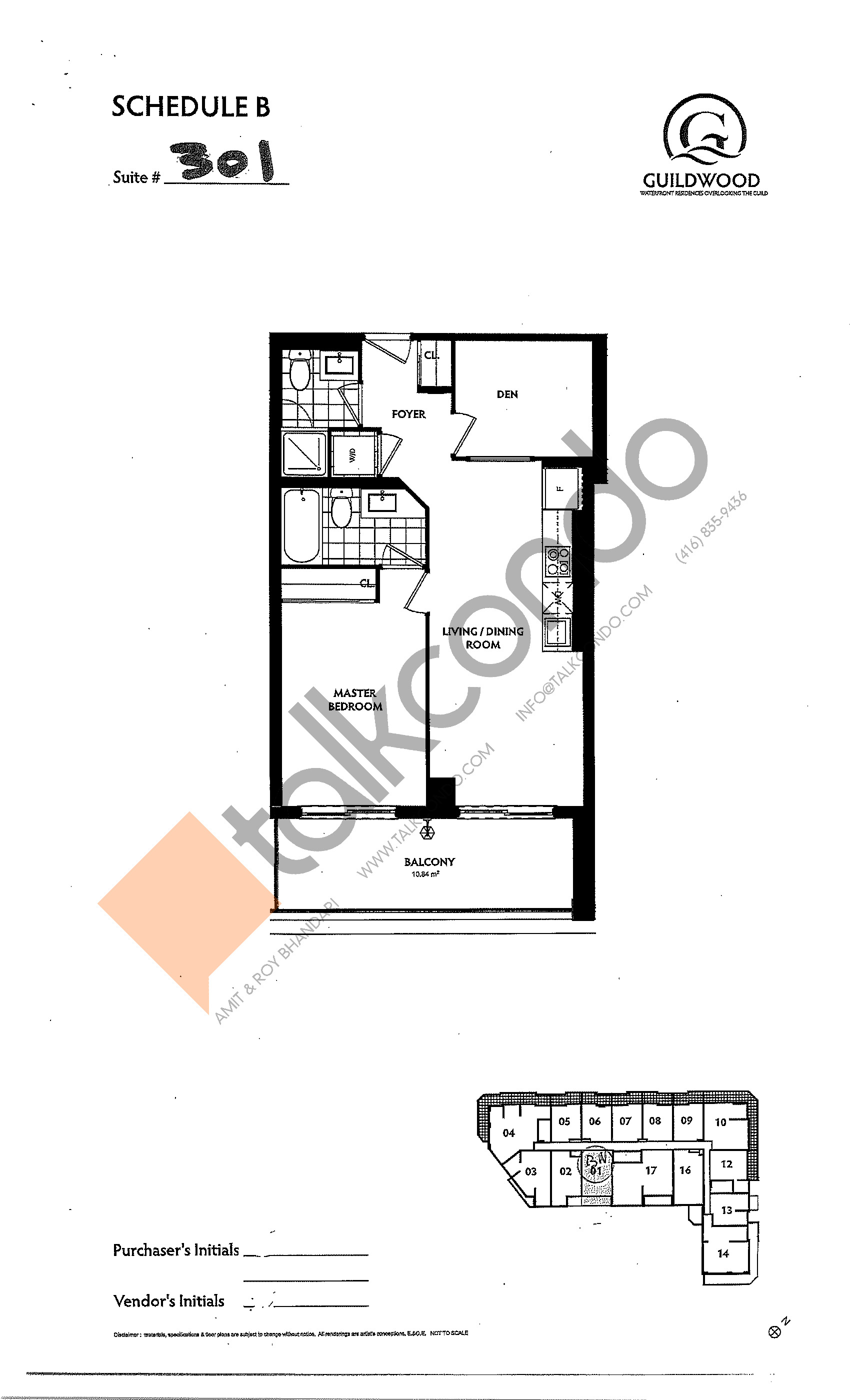 Suite 301 Floor Plan at Guildwood Condos - 646 sq.ft
